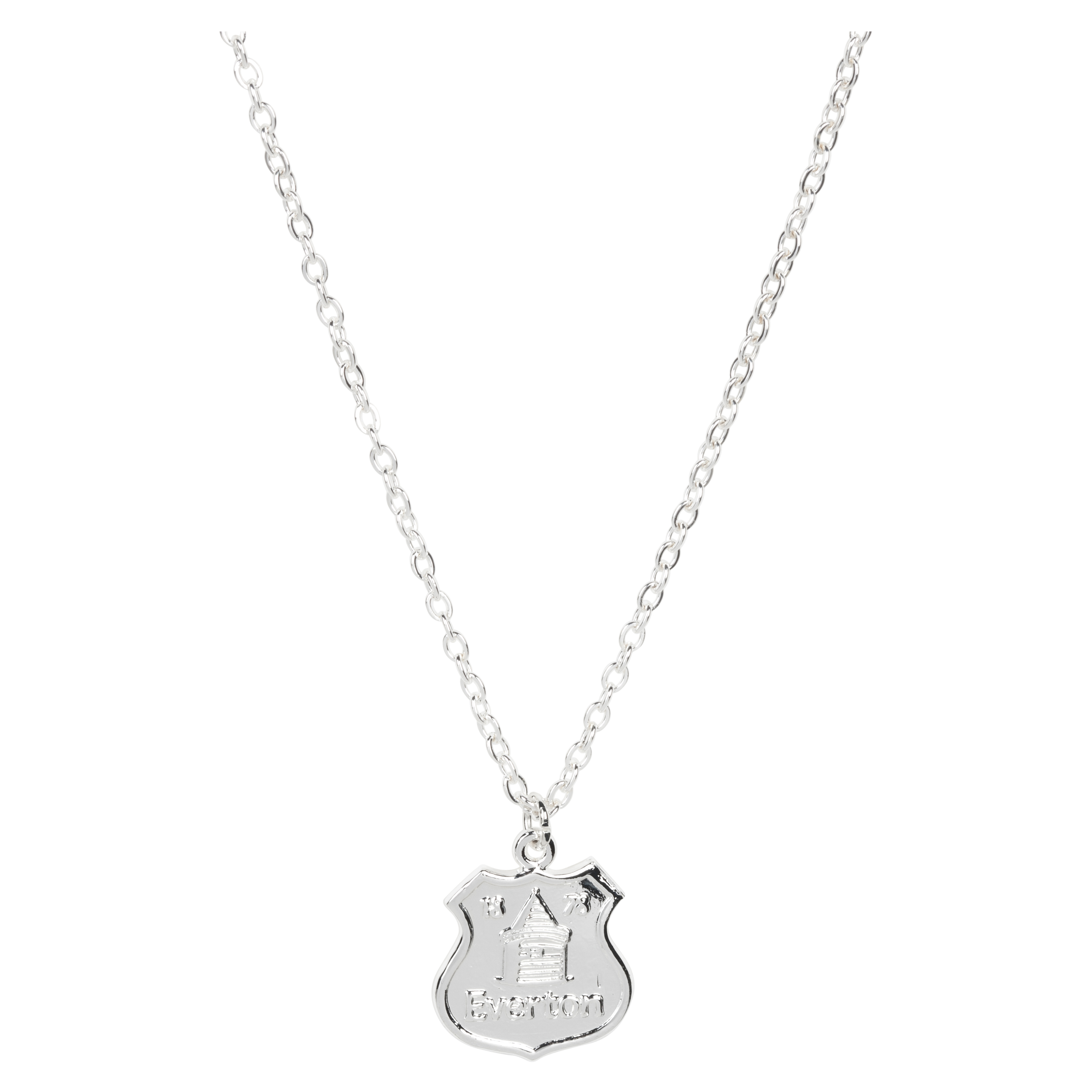Everton Silver Plated Large Crest Pendant & Chain