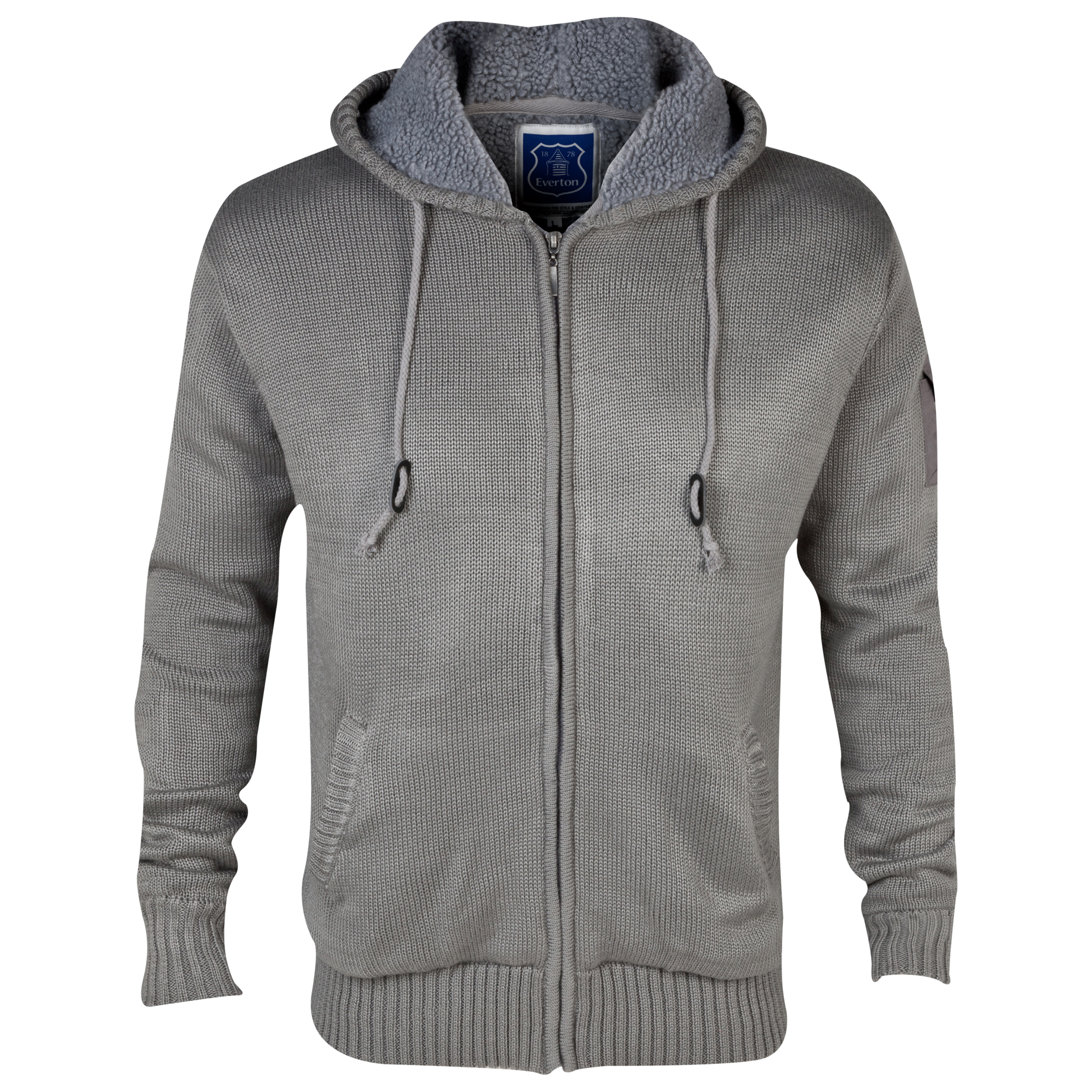 Everton Brandon Knit Hoodie - Mens Grey