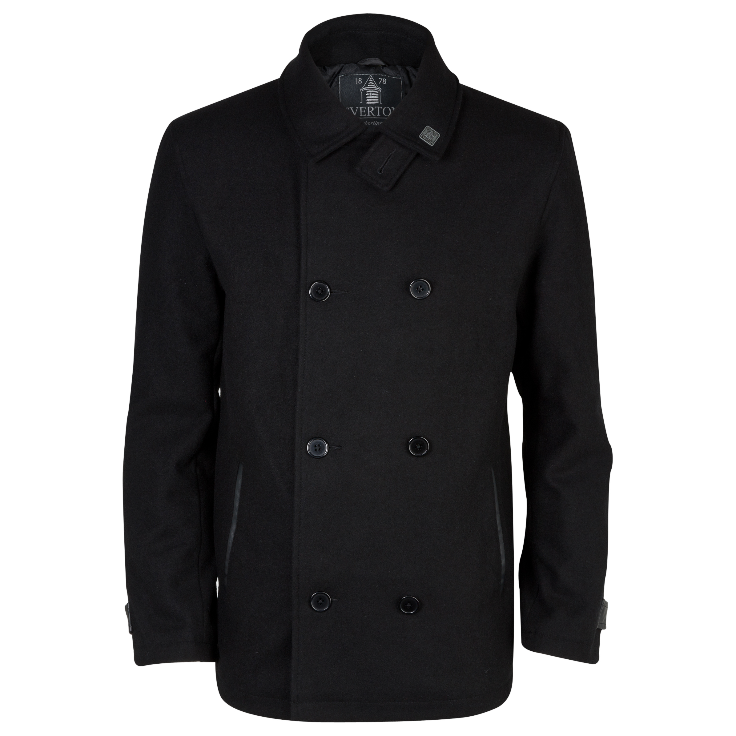 Everton Braal Pea Coat - Mens Black