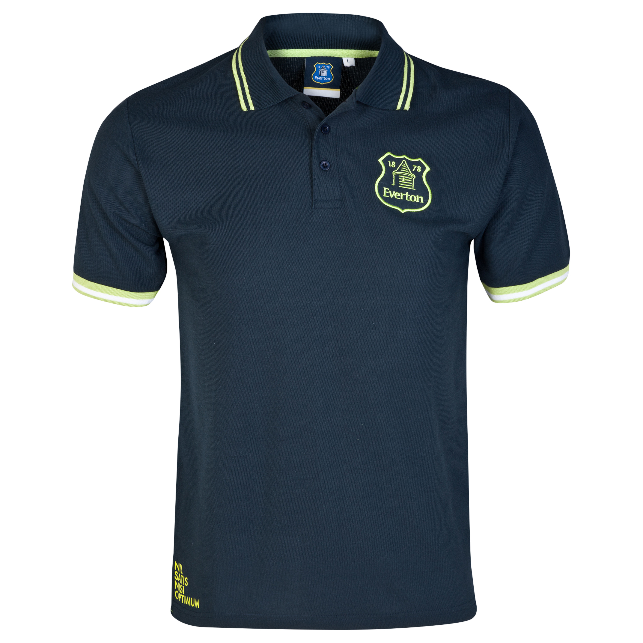 Everton Essentials Neon Polo Shirt-Mens Navy