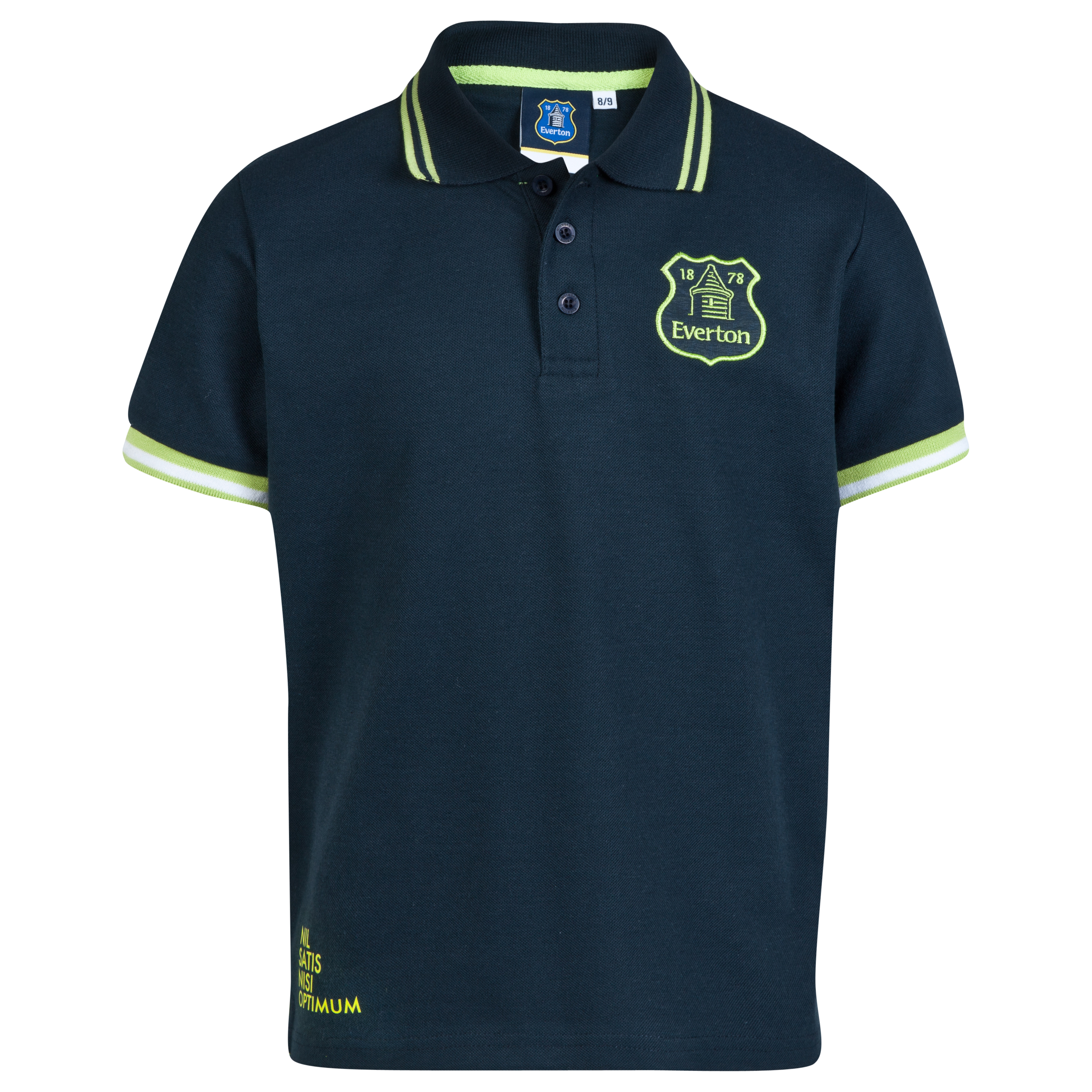 Everton Essentials Neon Polo Shirt-Older Boys Navy