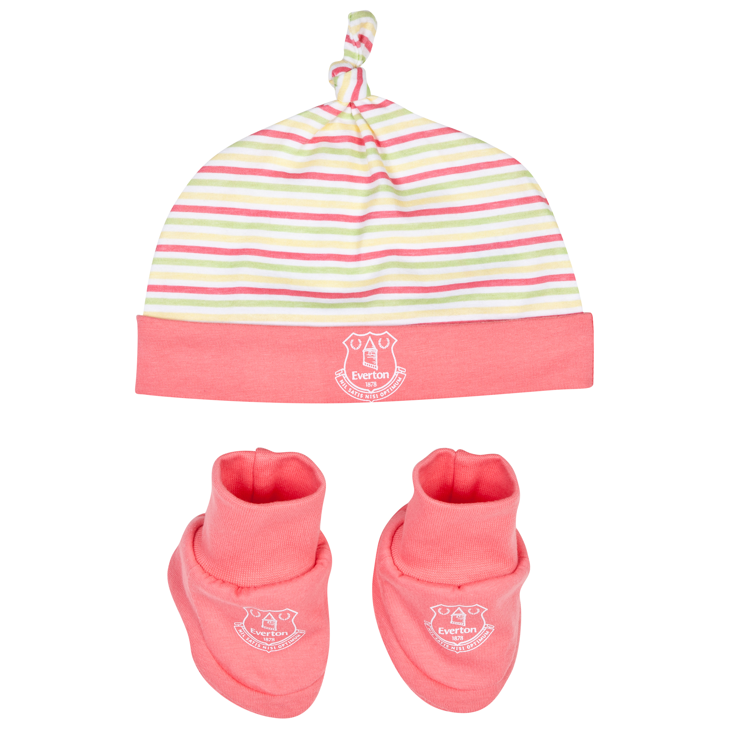 Everton Stripey Hat and Bootie-Baby Pink