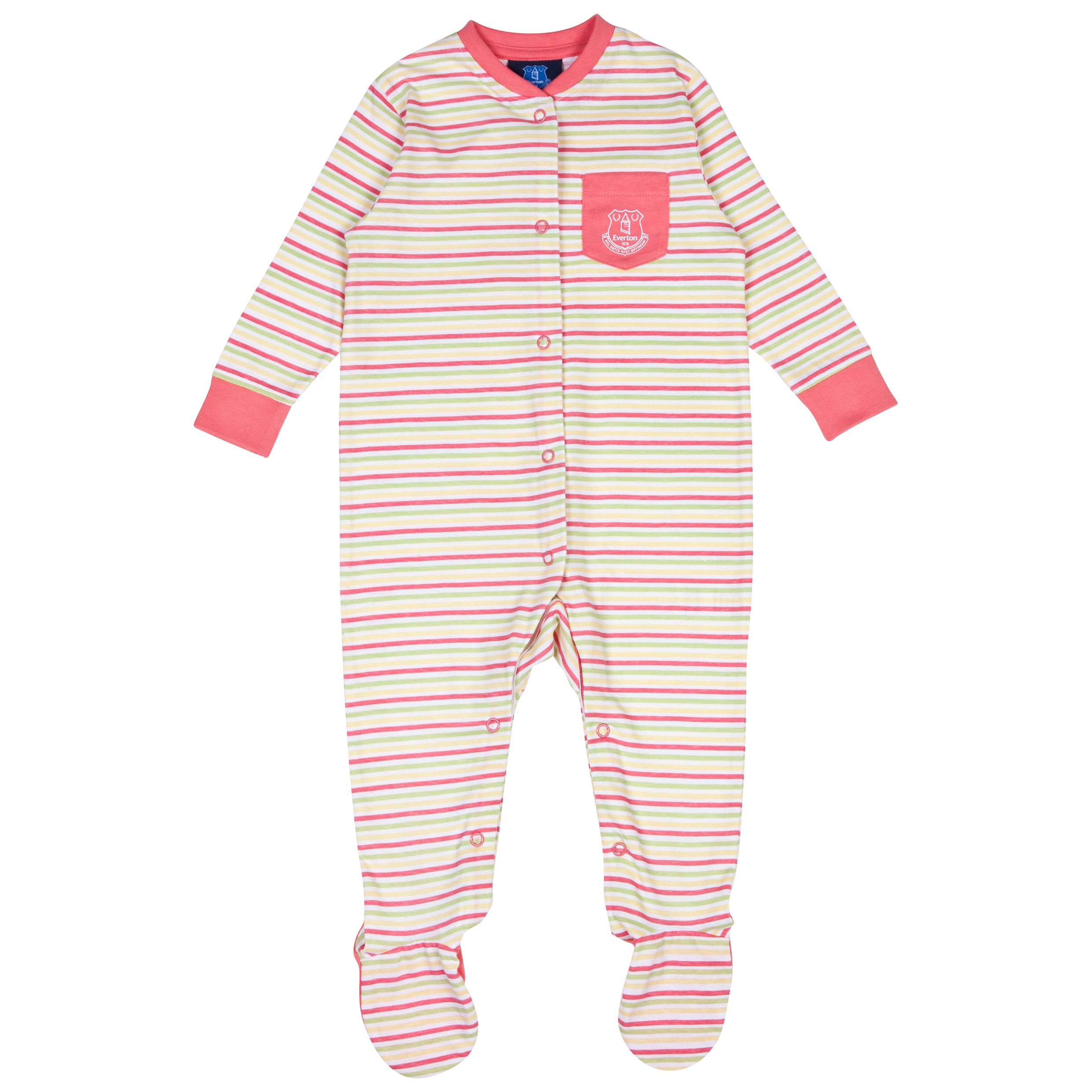 Everton Stripey Sleepsuit-Baby Pink