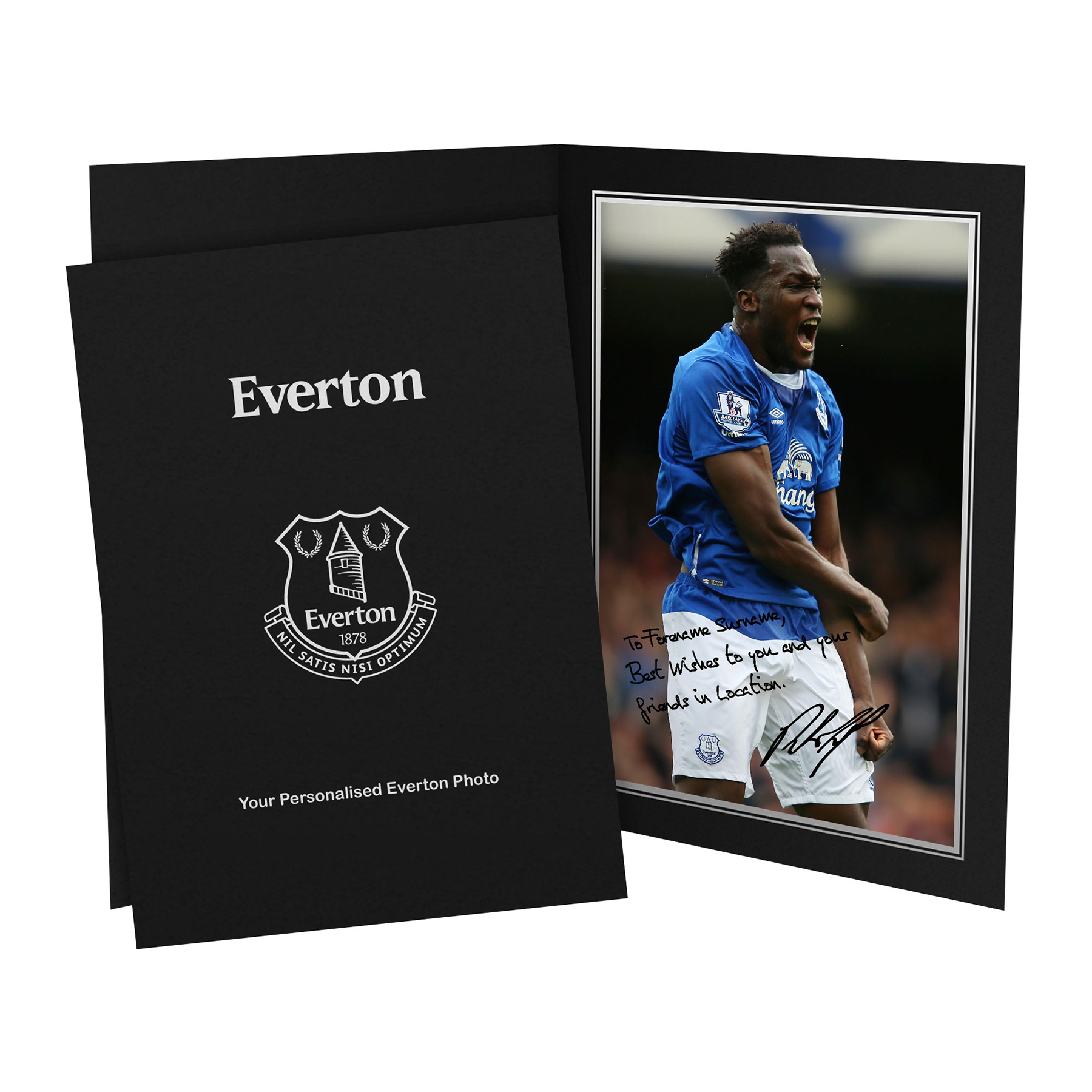 Everton Personalised Signature Photo in Presentation Folder - Lukaku