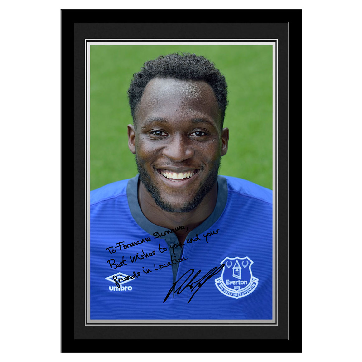 Everton Personalised Signature Photo Framed Lukaku