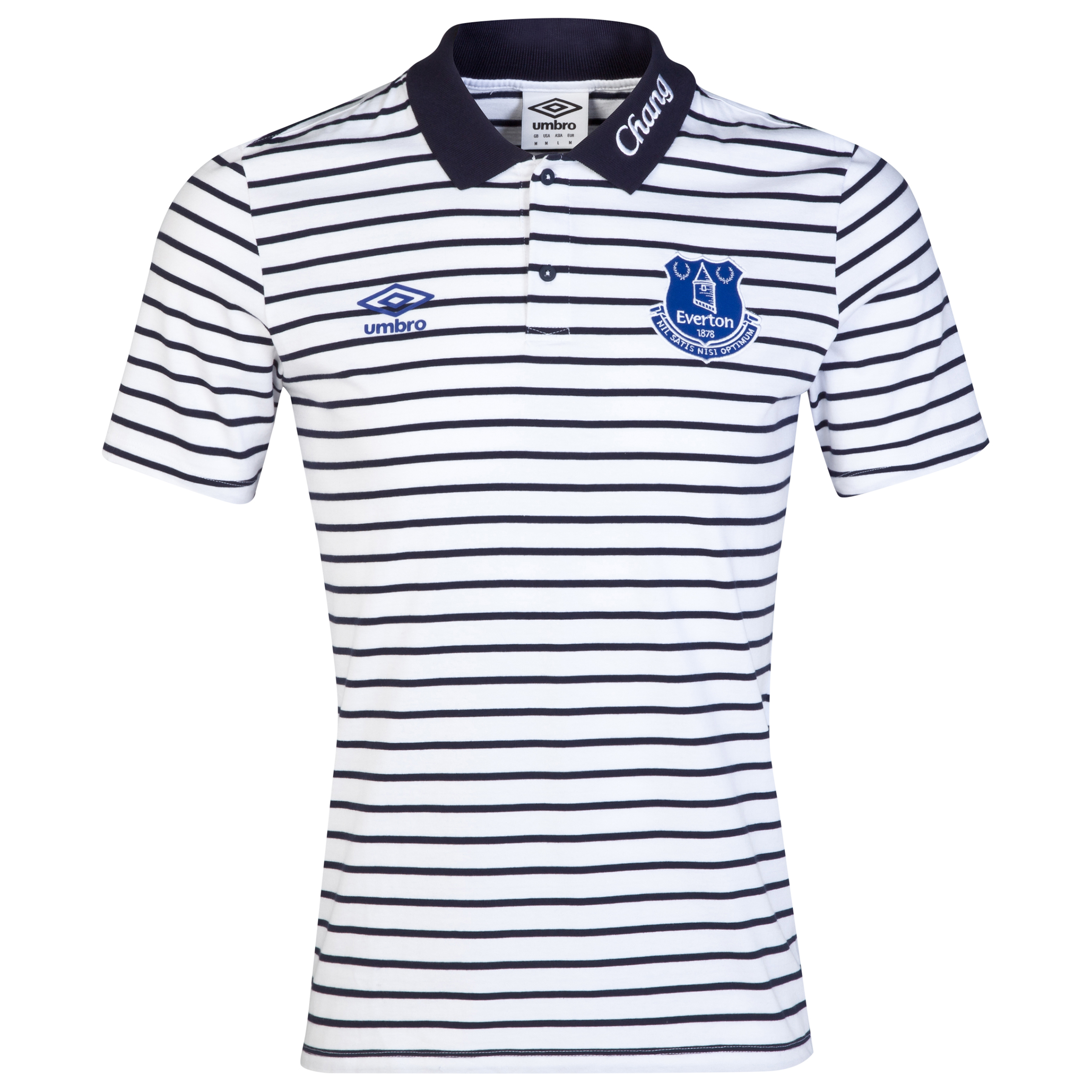 Everton Media Yarn Dye Polo-White/Dark Navy