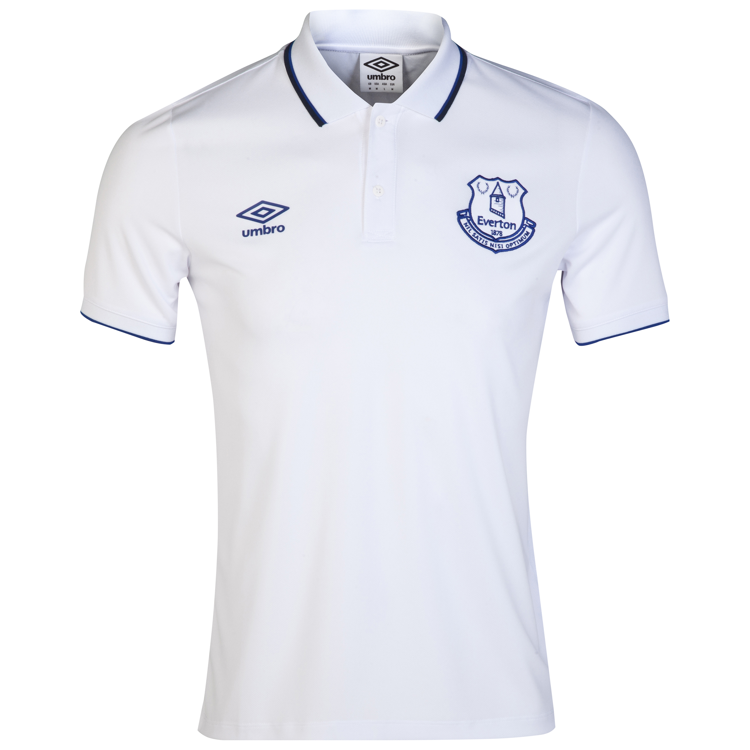 Everton Pique Polo-White/Deep Surf/Dark Navy