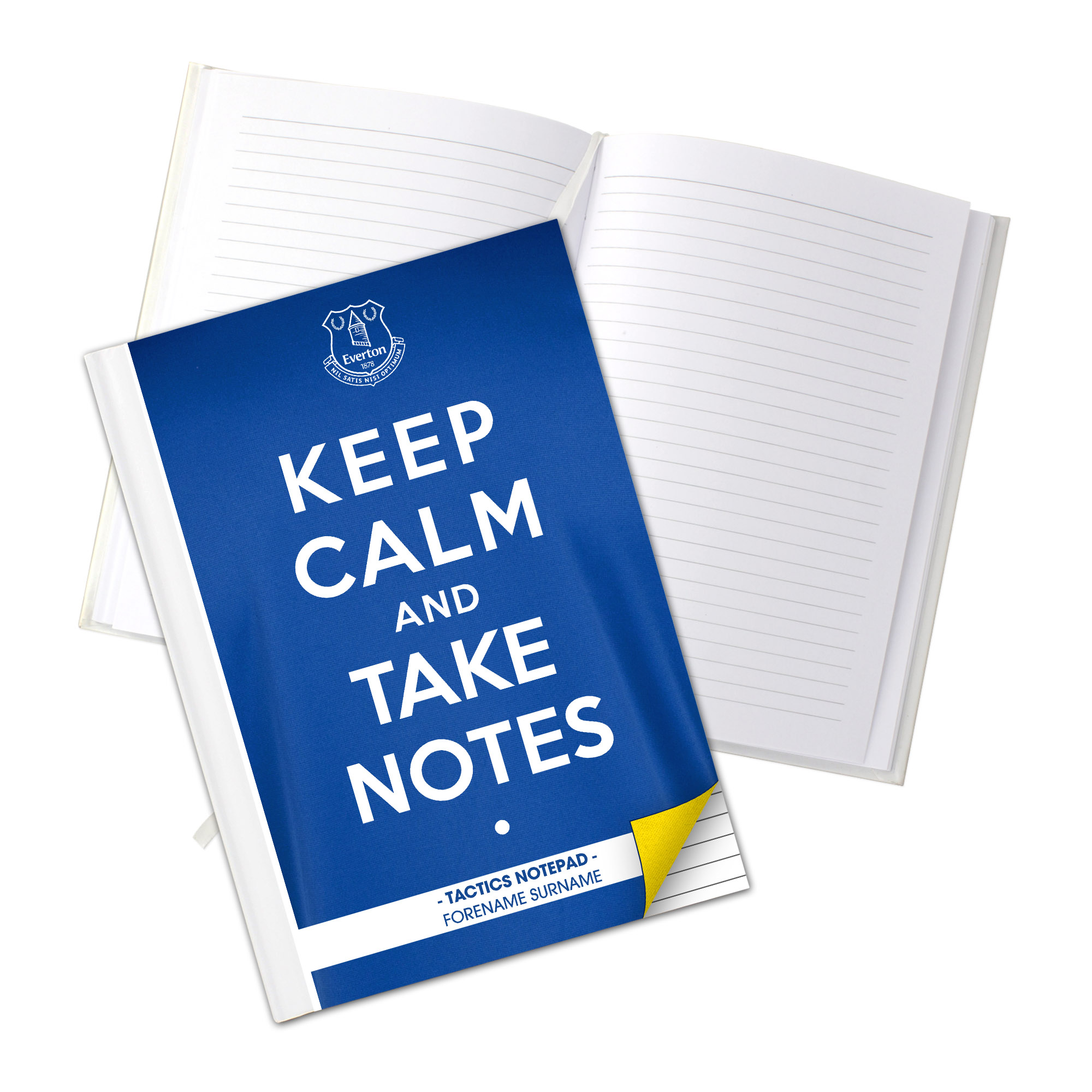 Everton Personalised Keep Calm & Take Notes A5 Hardback Notebook