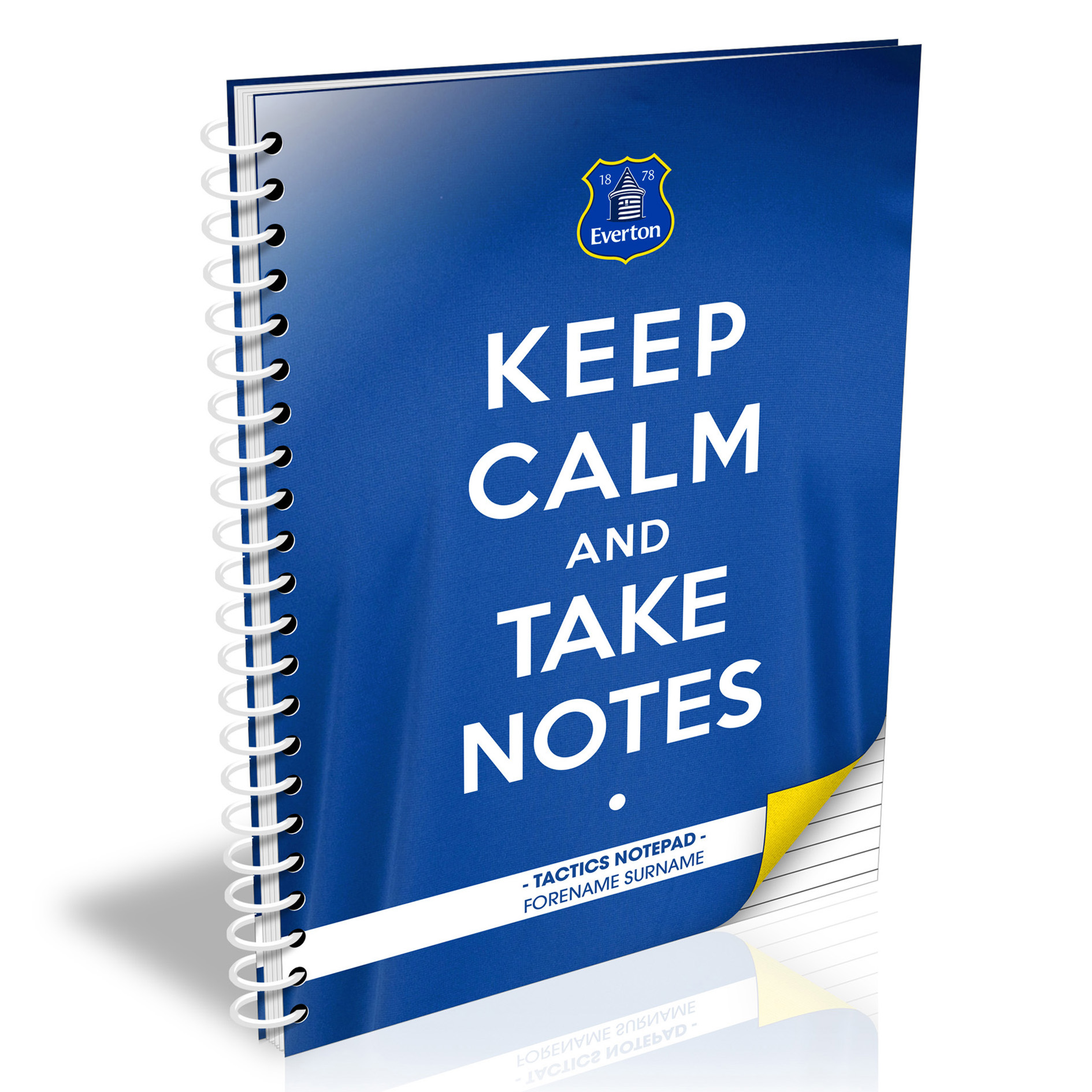 Everton Personalised Keep Calm & Take Notes A4 Paperback Notebook