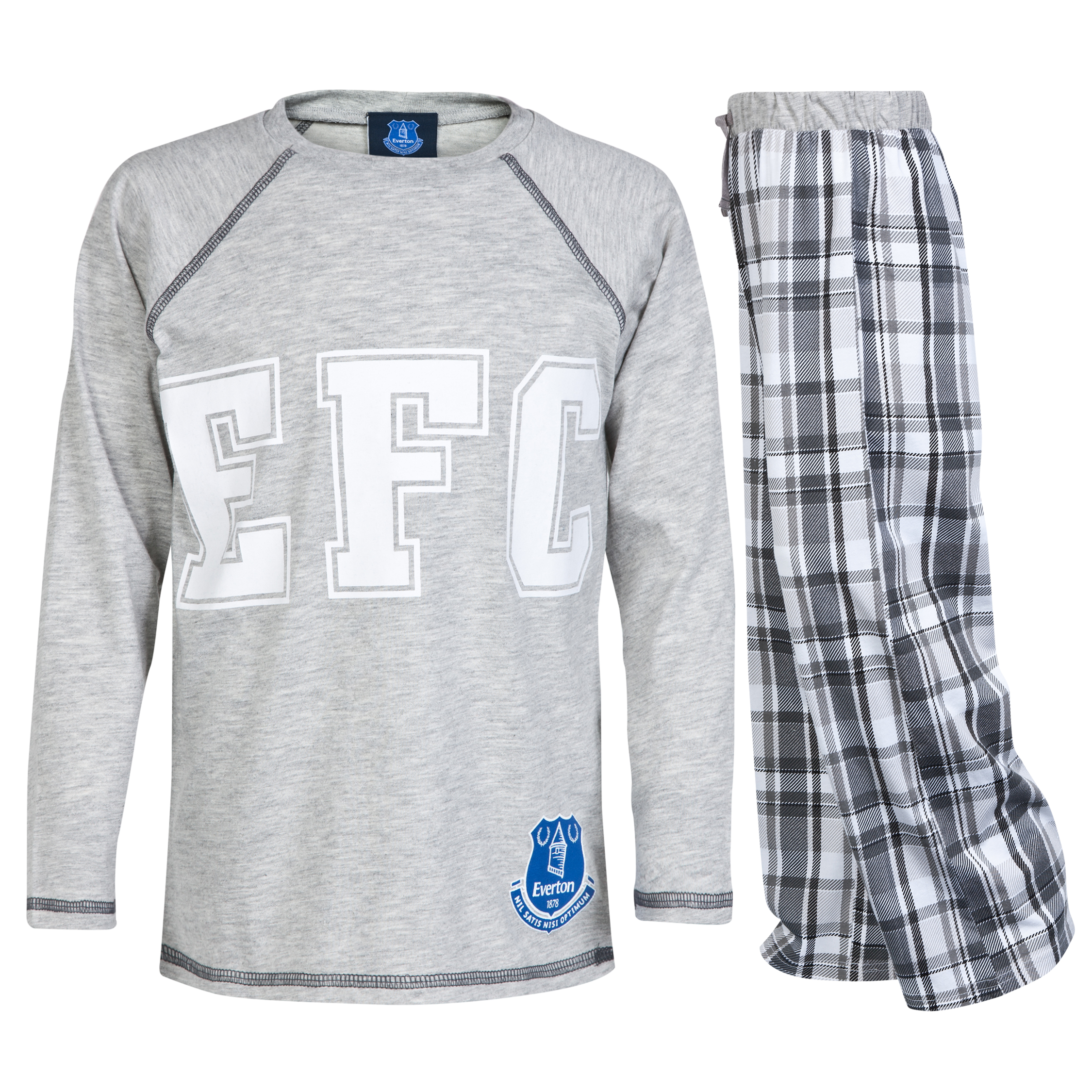 Everton Check Pyjamas - Grey - Older Boys