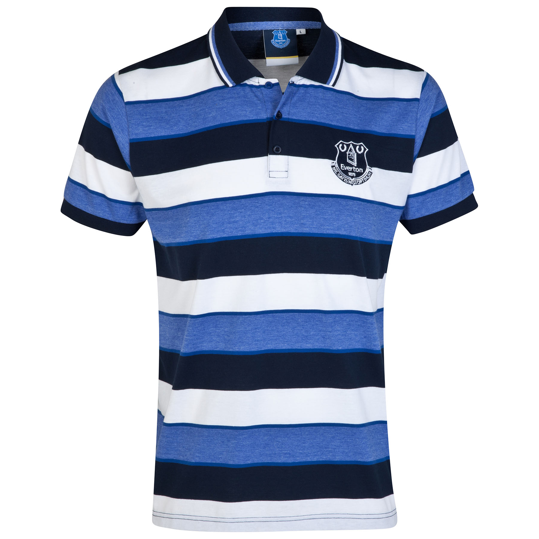 Everton Essential Stripe Polo Shirt - White/Multi - Mens
