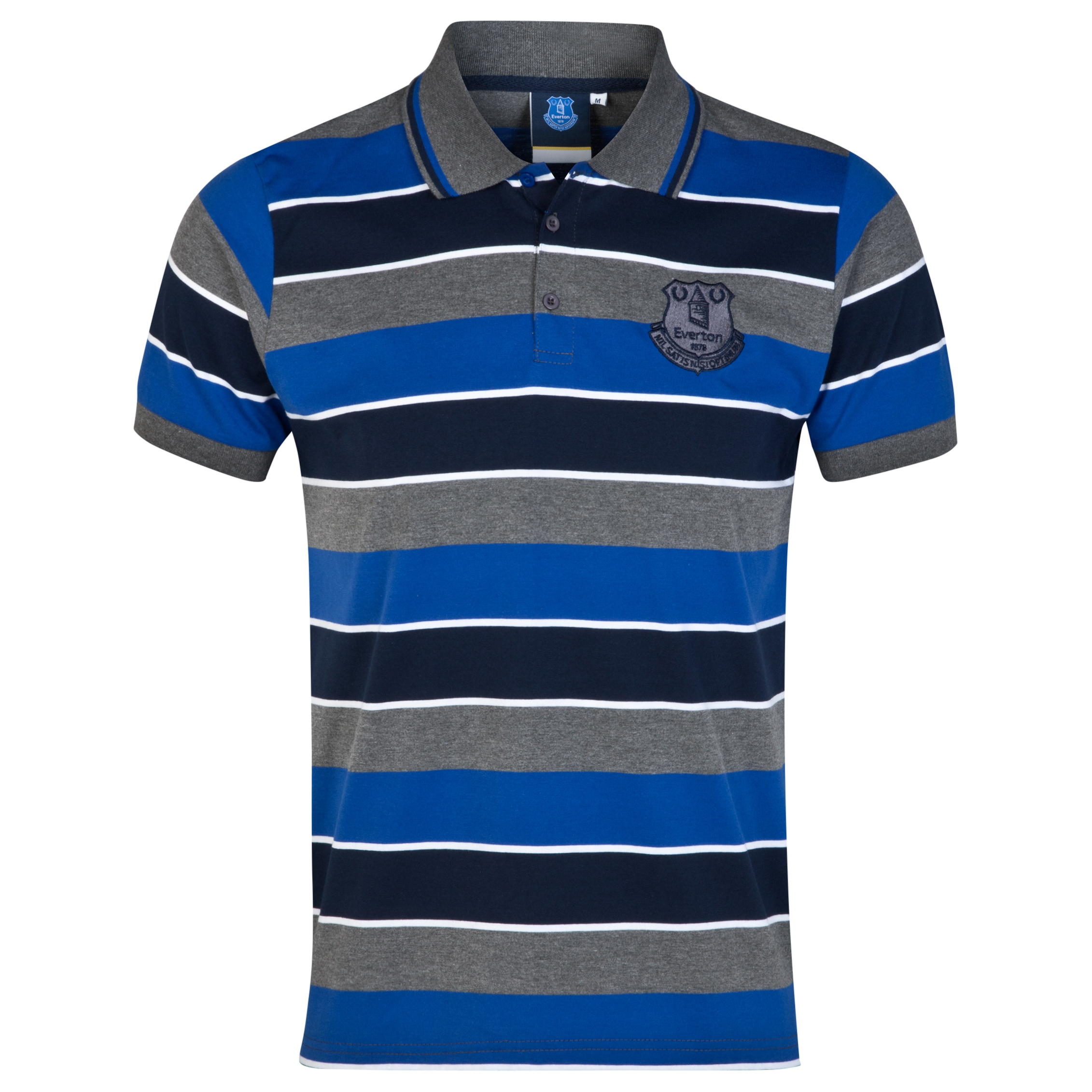 Everton Essential Stripe Polo Shirt - Vintage Marl/Navy/Everton Blue - Mens
