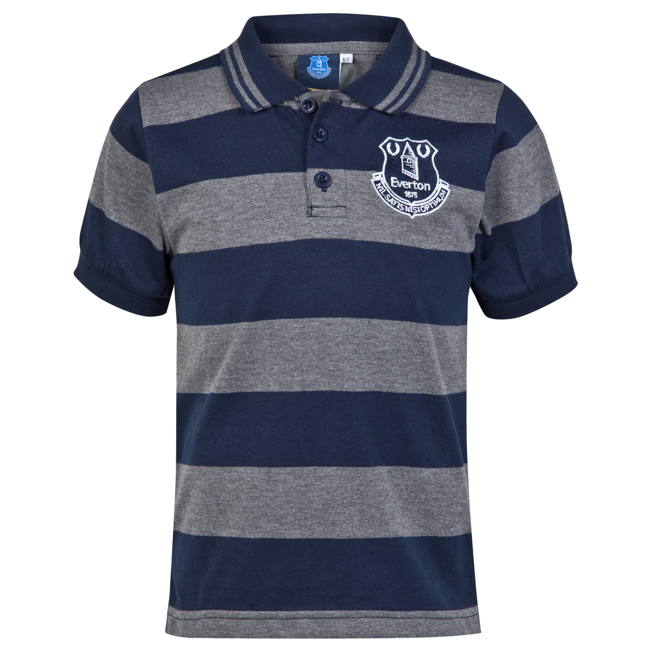 Everton Essential Stripe Polo Shirt - Navy/Grey - Older Boys