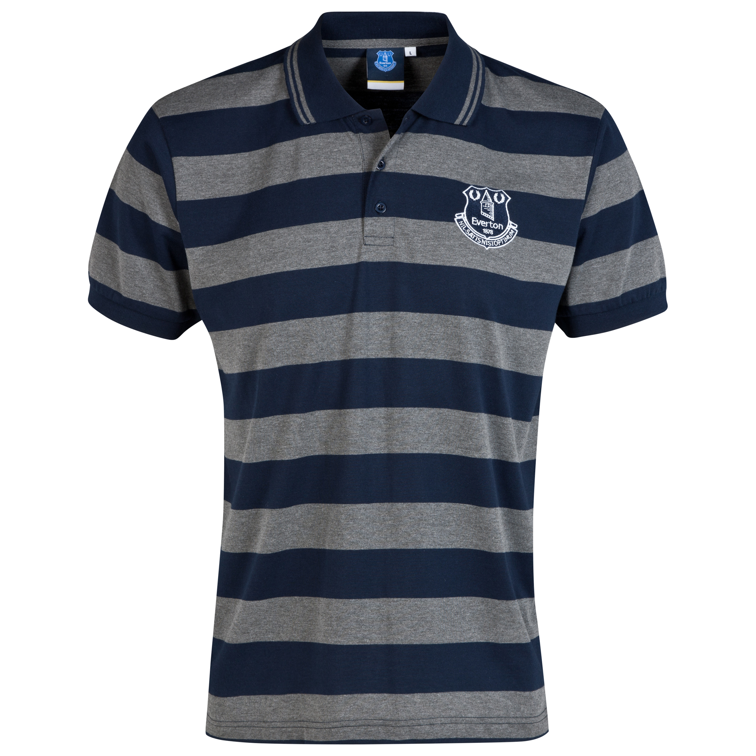 Everton Essential Stripe Polo Shirt - Navy/Grey - Mens