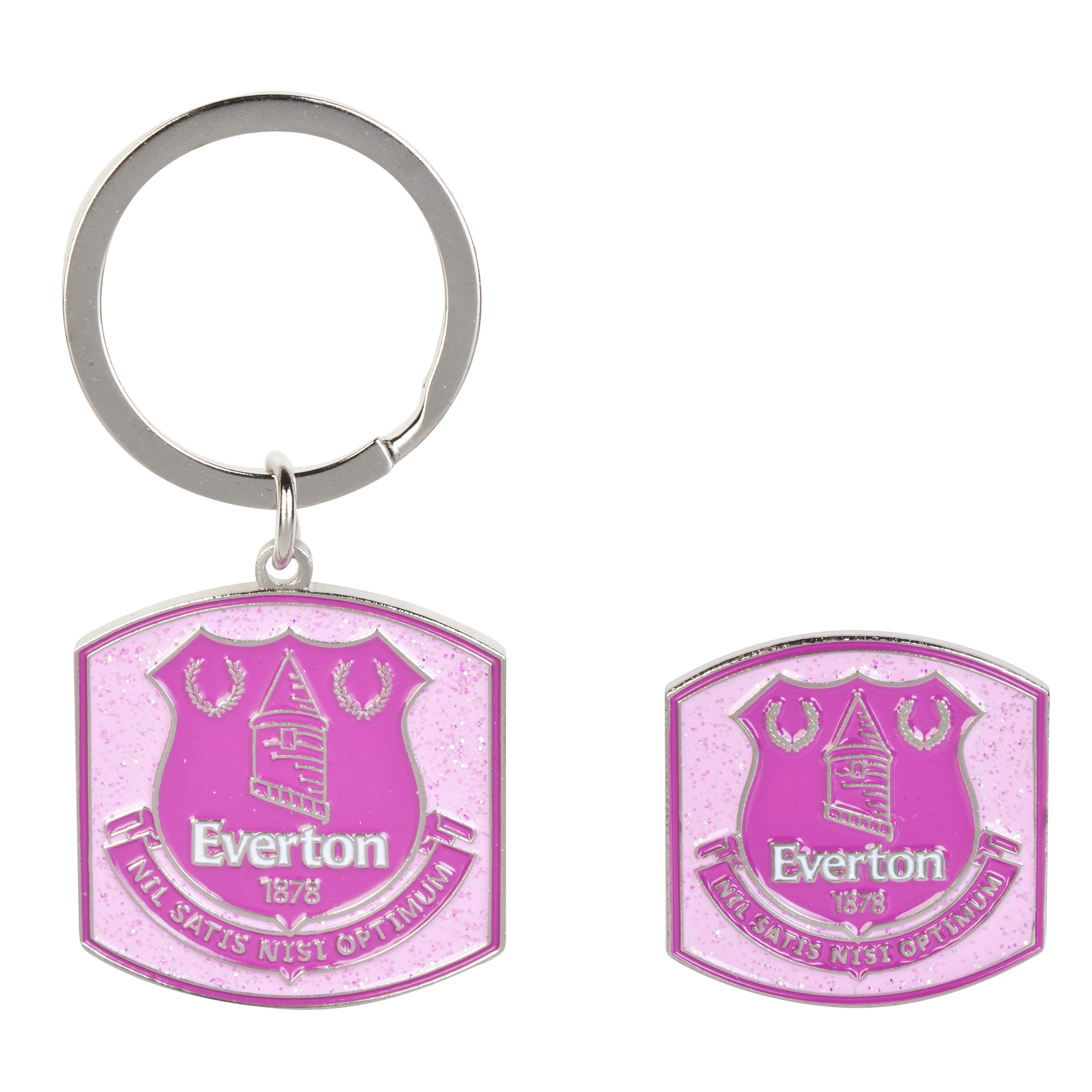 Everton Pink Glitter Keyring And Bagde Set