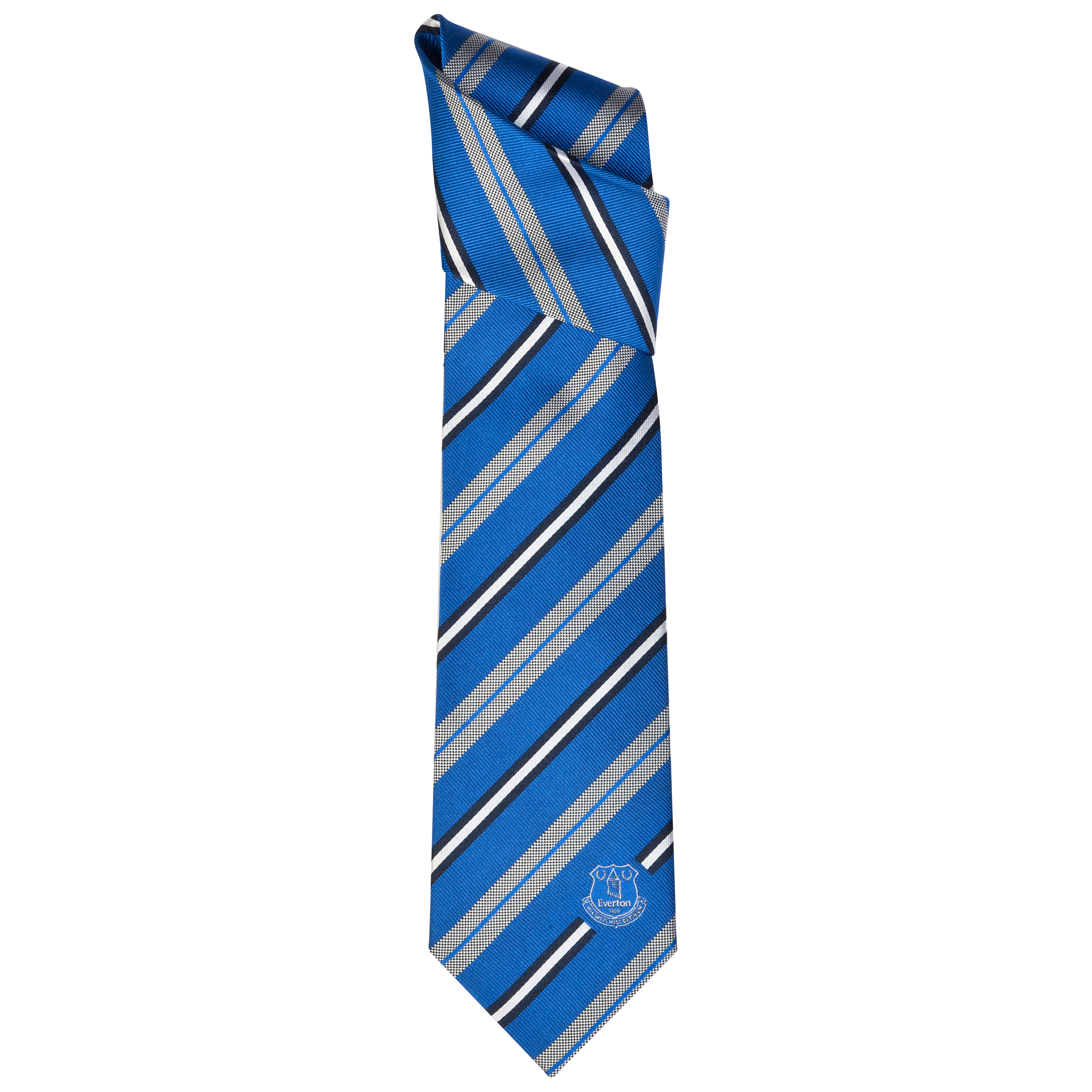 Everton Blue/ White Stripe Silk Tie
