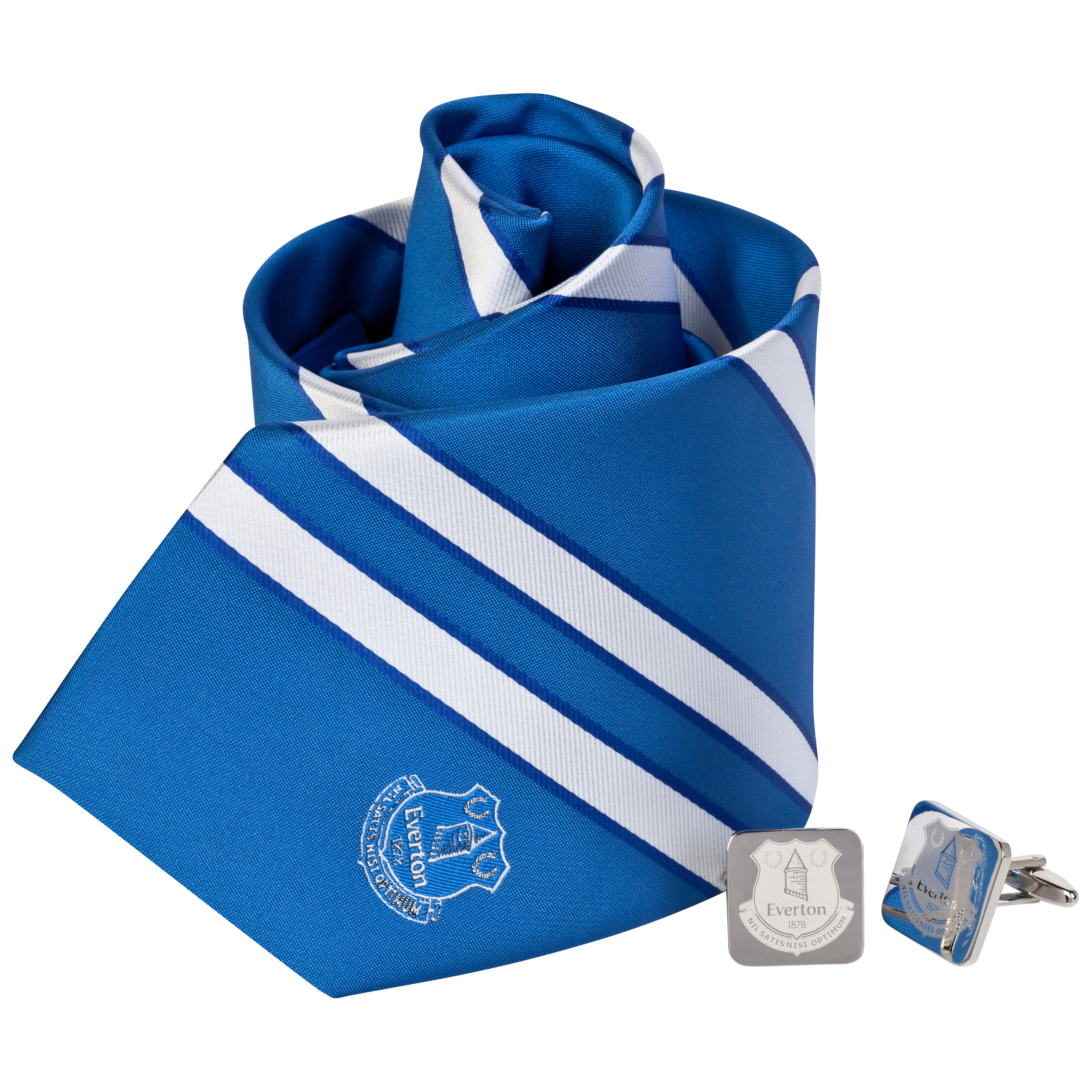 Everton Stripe Tie and Cufflink Boxset