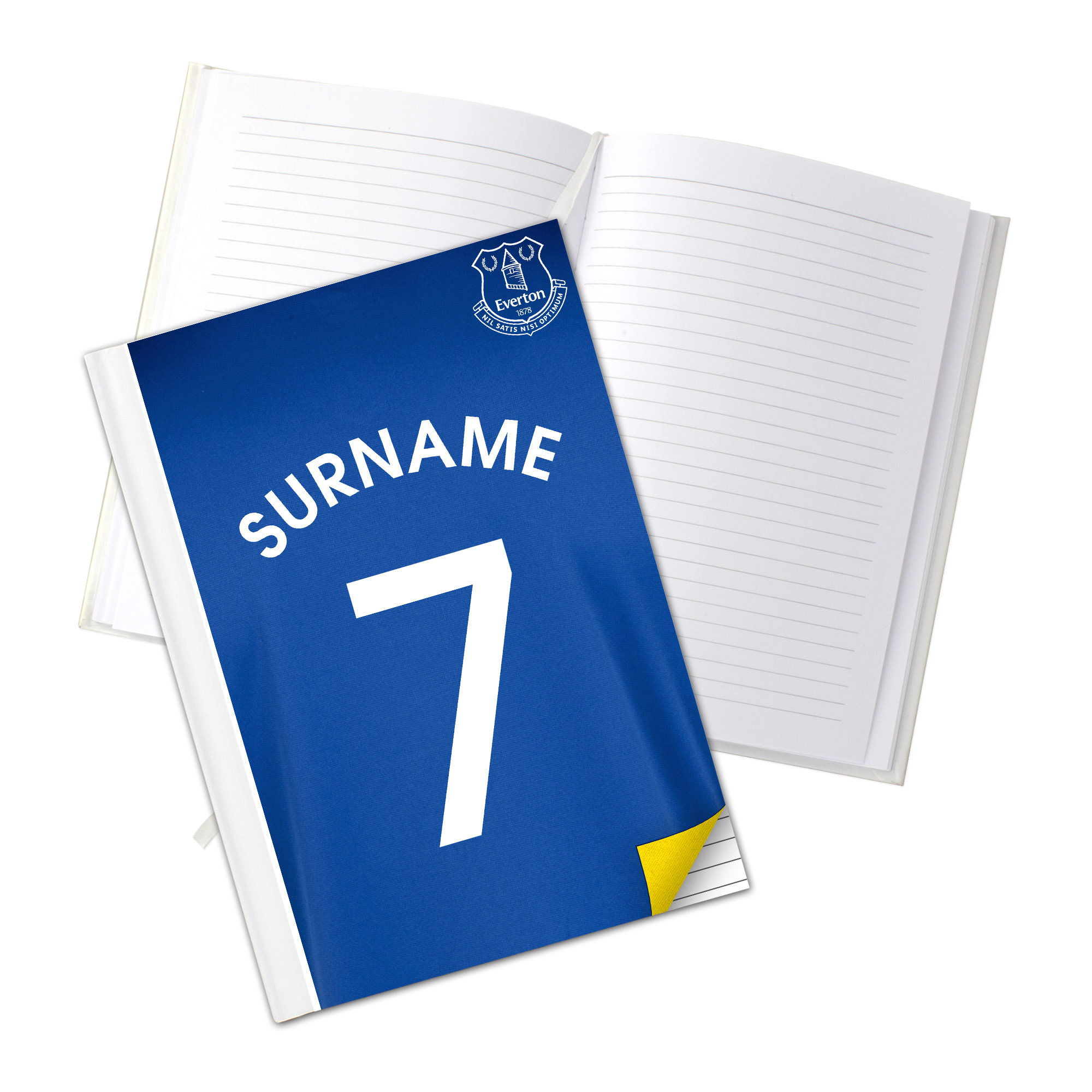Everton Personalised Shirt Number A5 Hardback Notebook