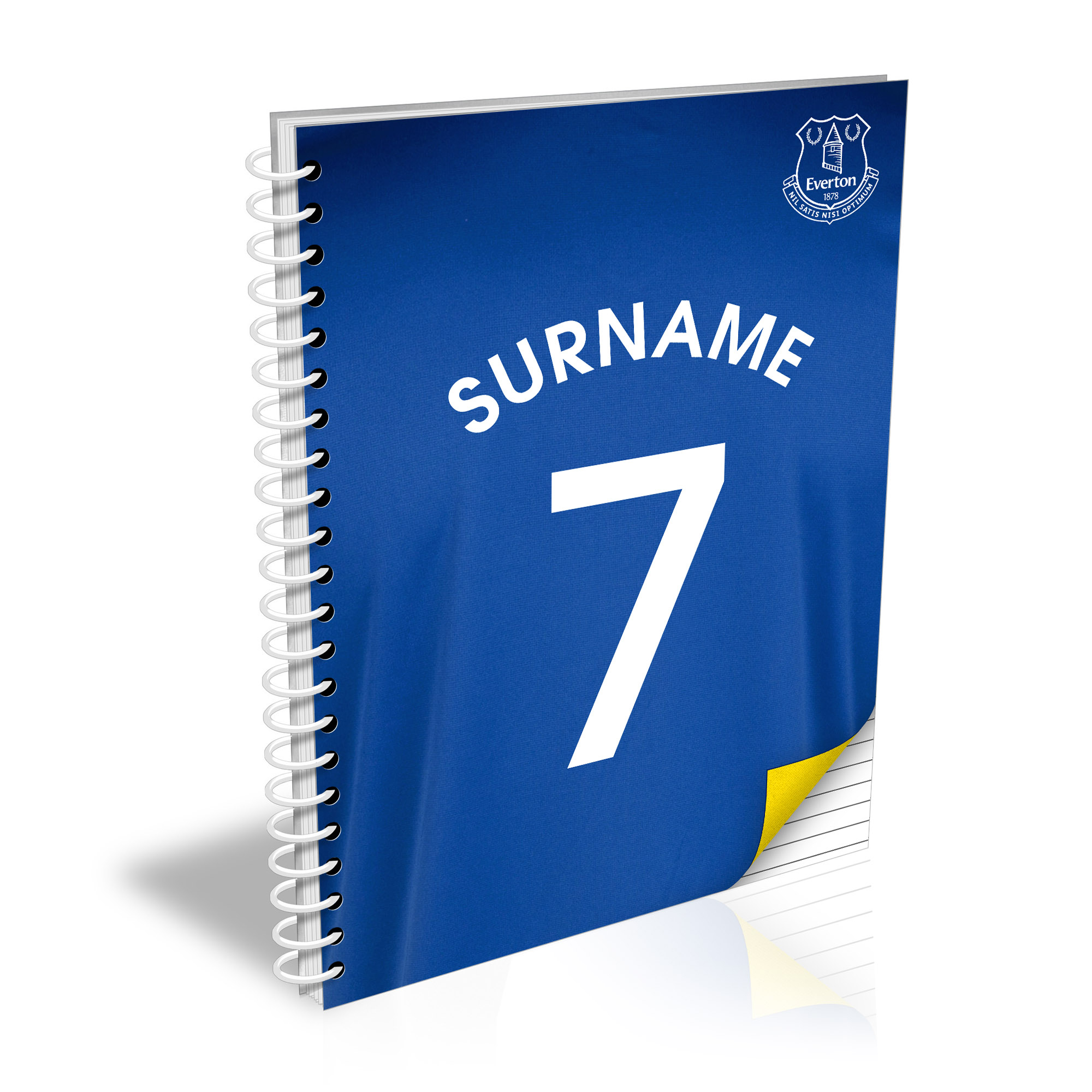 Everton Personalised Shirt Number A4 Paperback Notebook
