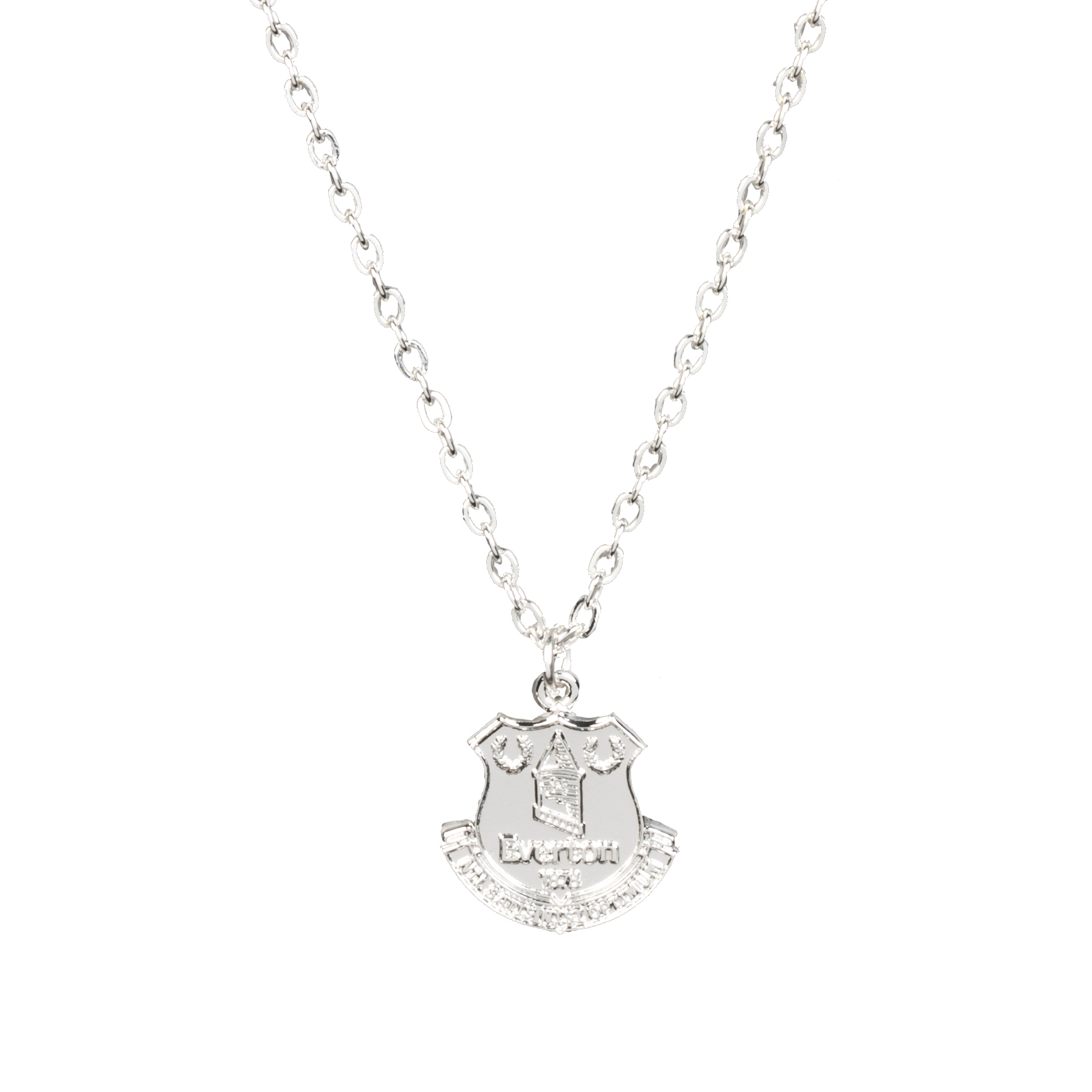 Everton Silver Plated Large Crest Pendant And Chain