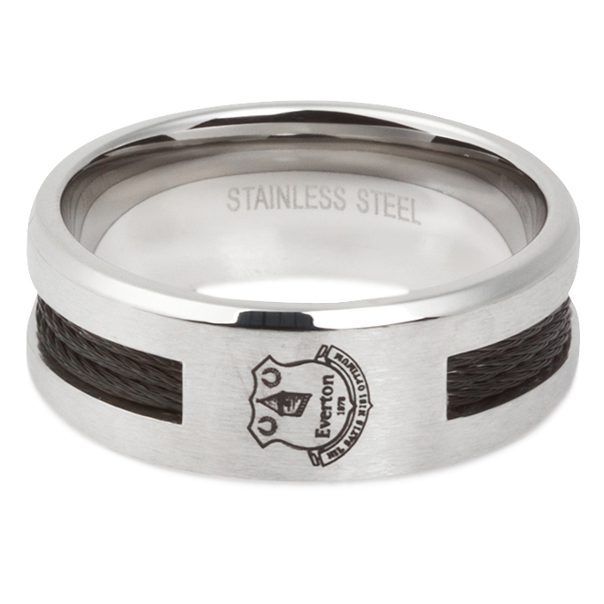 Everton Stainless Steel Black Inlay 10mm Band Ring