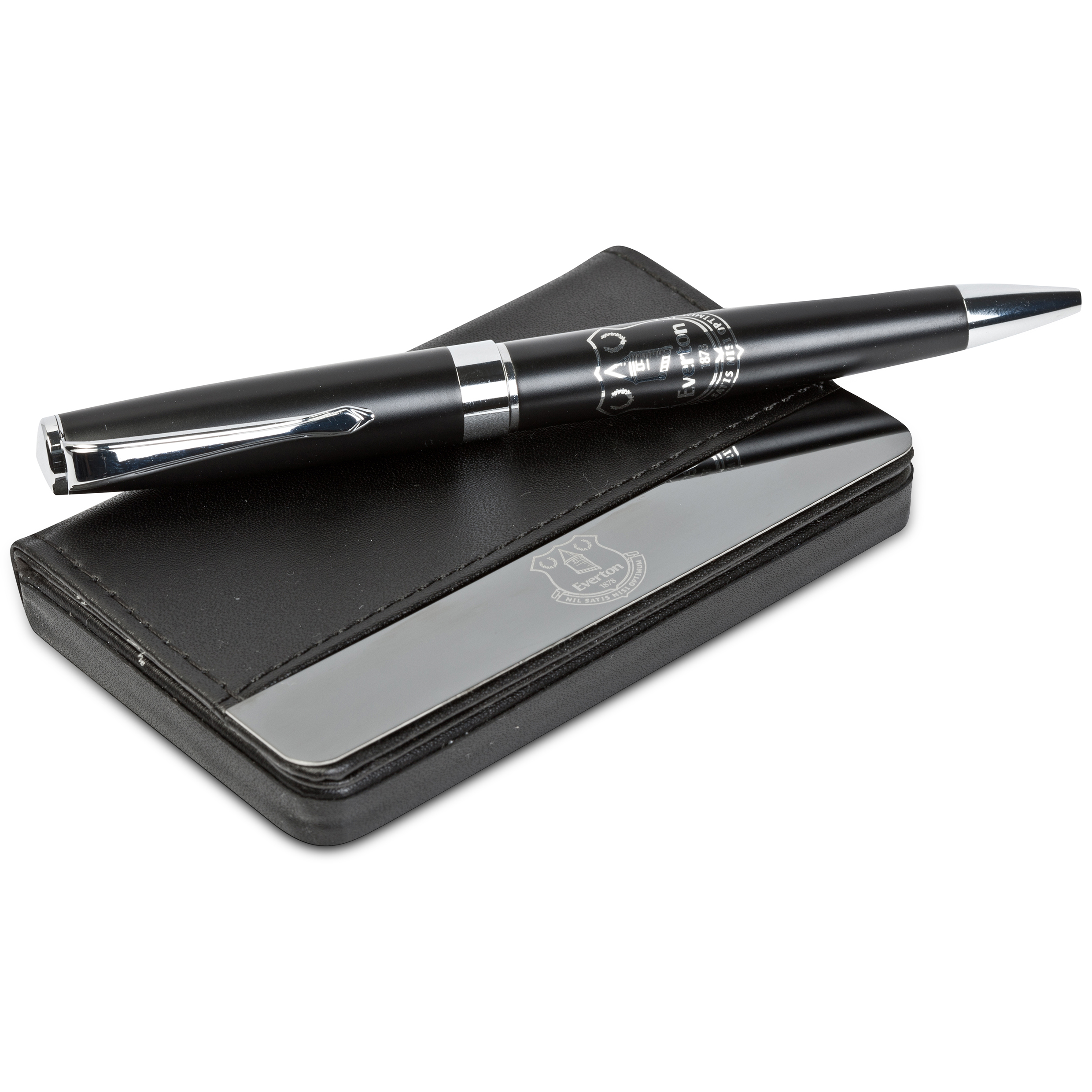 Everton Business card holder and pen set