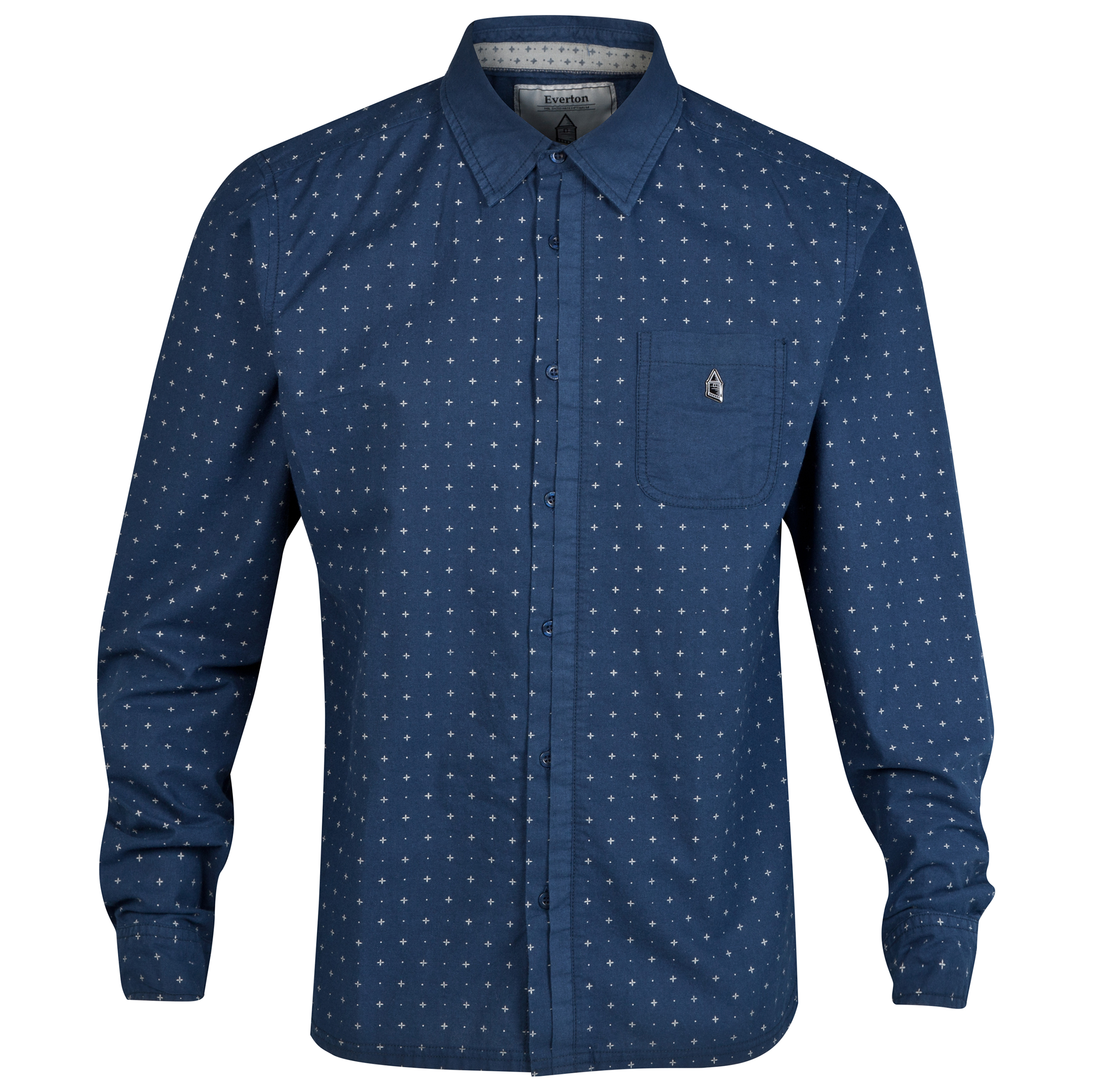 Everton Pattern Shirt - Navy - Mens