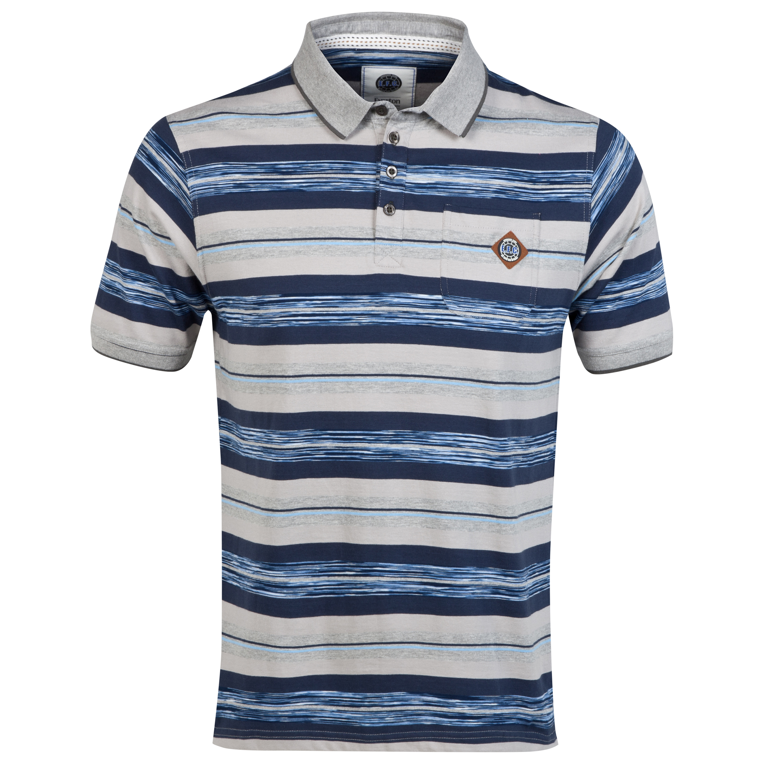 Everton Stripe Polo Shirt -Grey/Navy/Blue - Older Boys