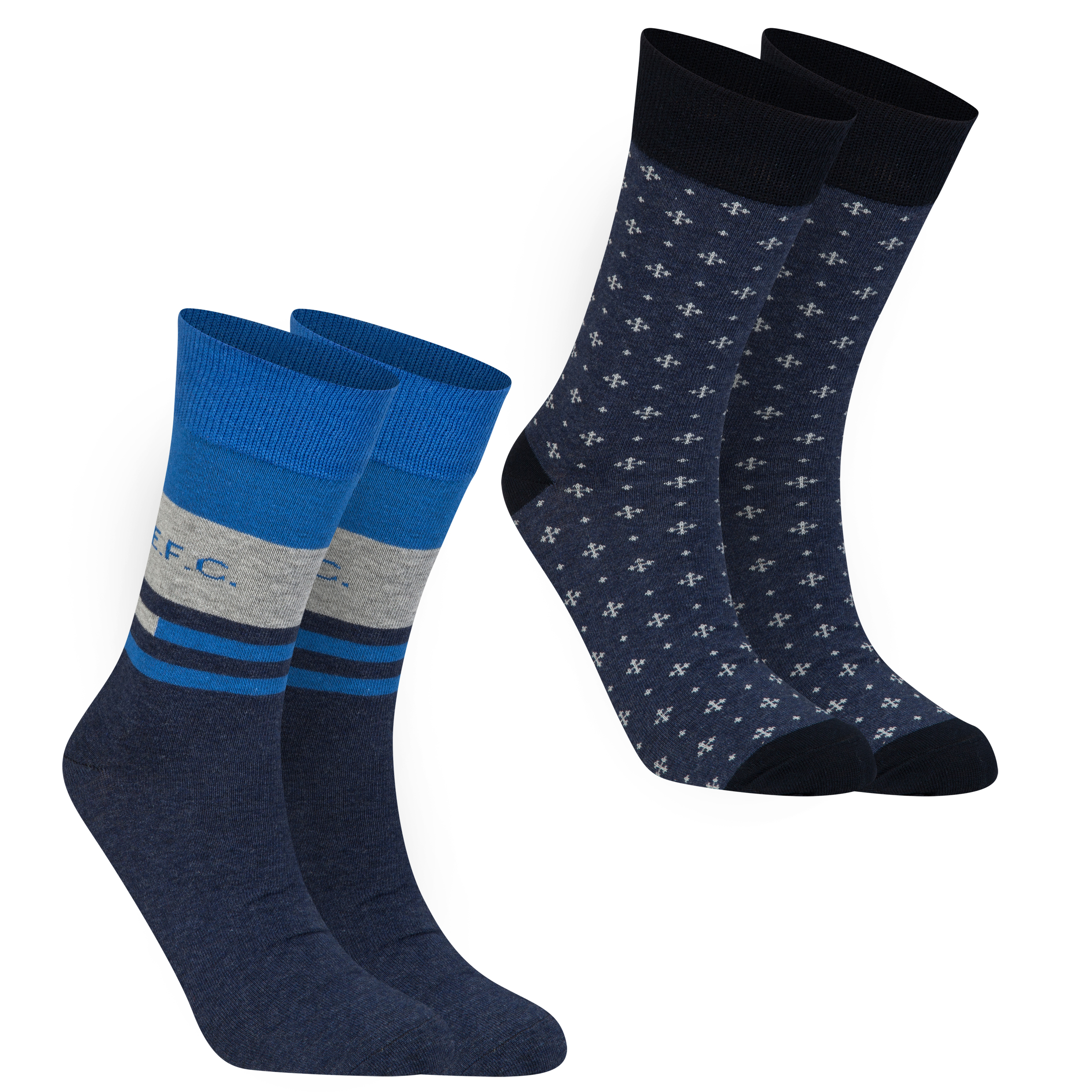 Everton 2PK Socks - Denim Marl/Navy - Mens