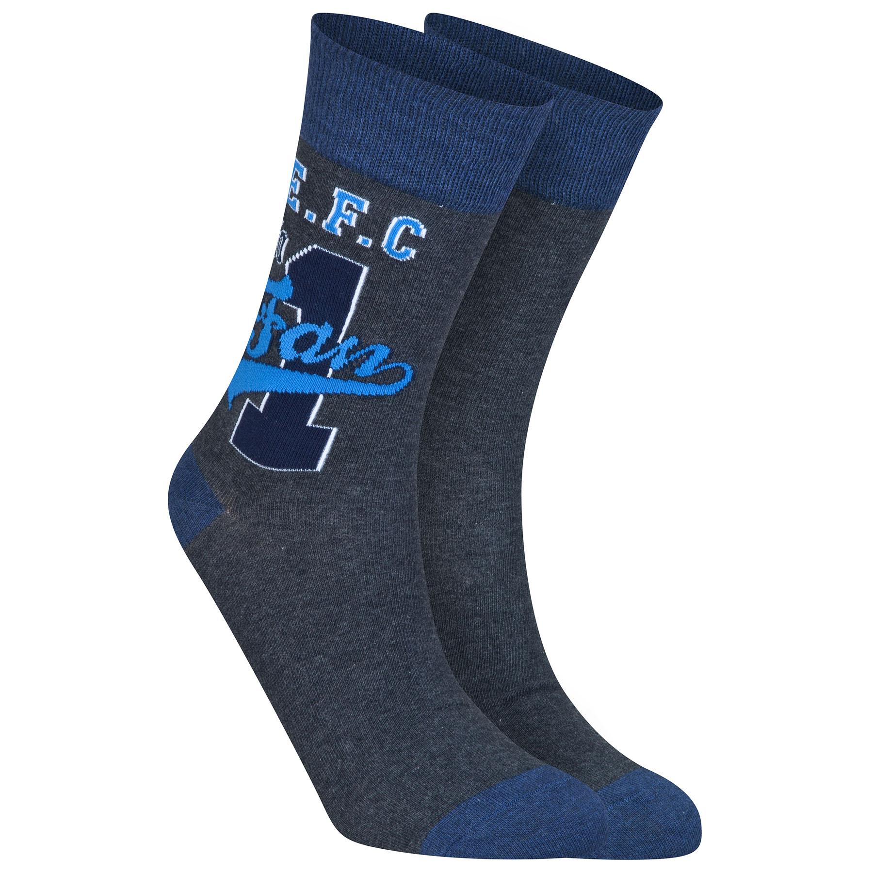 Everton Fan Socks - Charcoal Marl - Older Boys