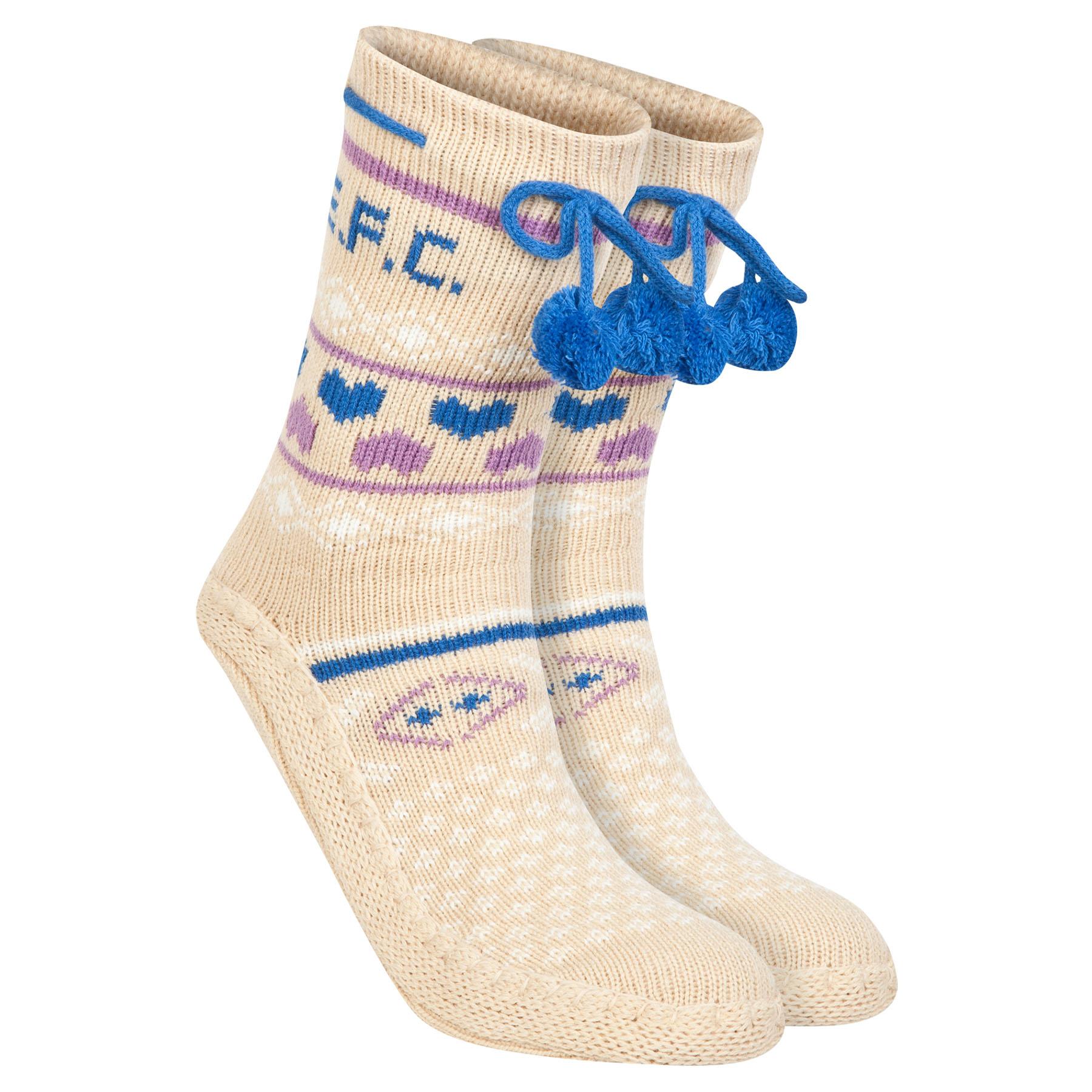 Everton Slipper Socks - Cream/Blue/Purple - Girls
