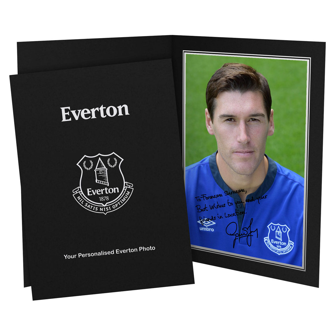Everton Personalised Signature Photo in Presentation Folder - Barry