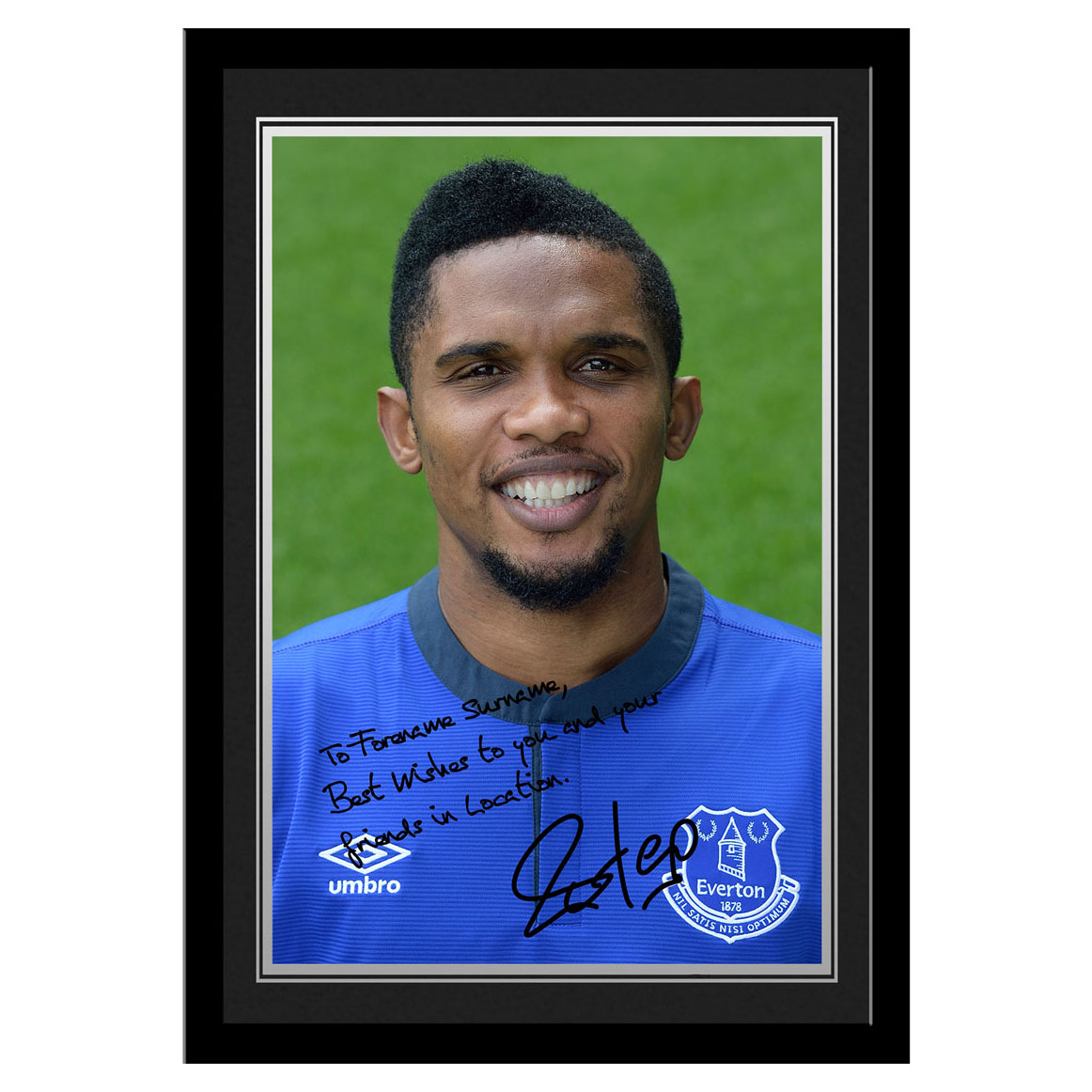 Everton Personalised Signature Photo Framed - Eto`o
