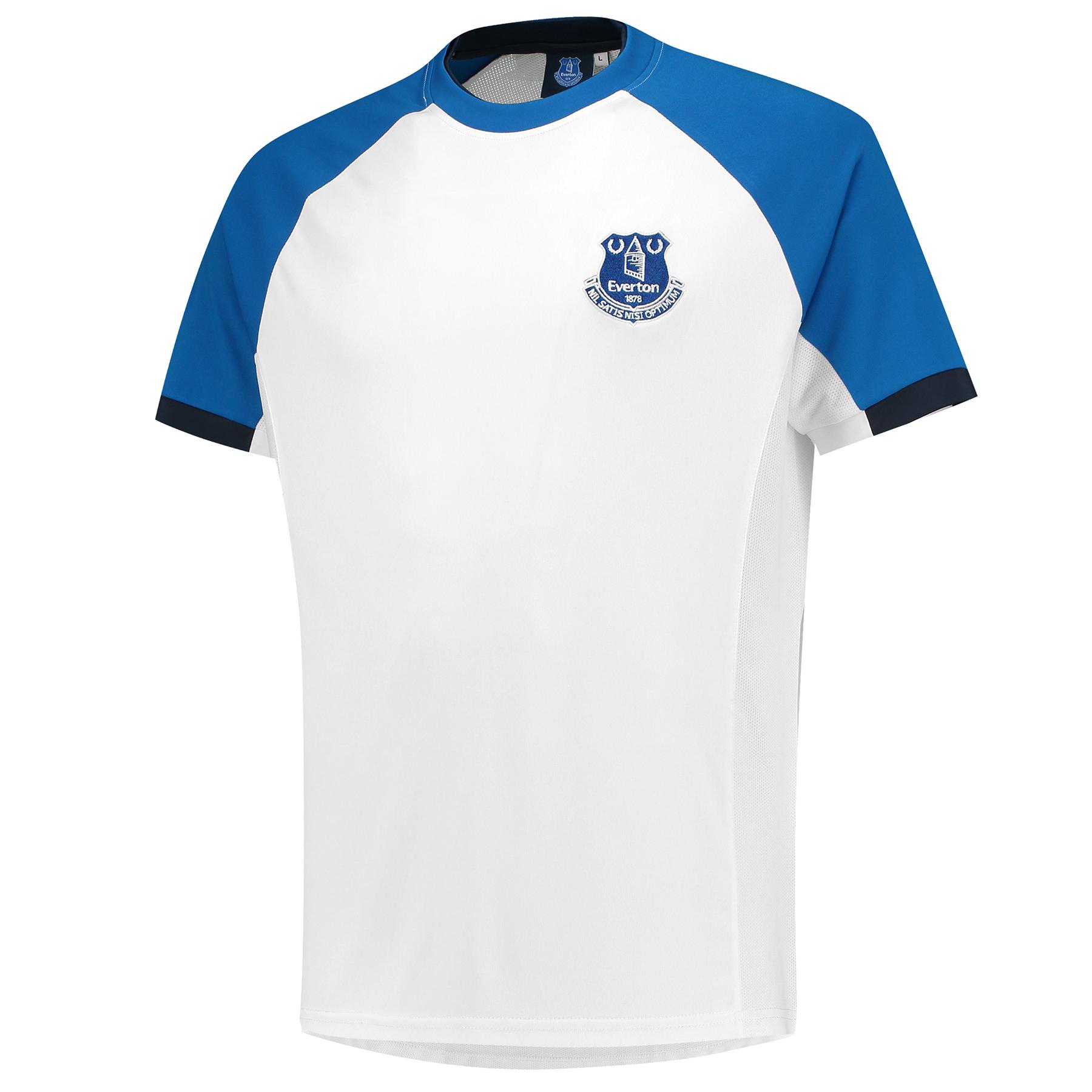 Everton Poly T-Shirt - White/Royal - Mens