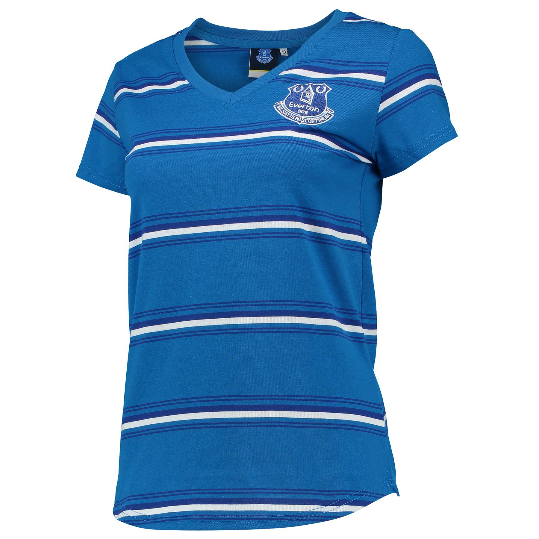 Everton Stripe T-Shirt - Navy - Womens