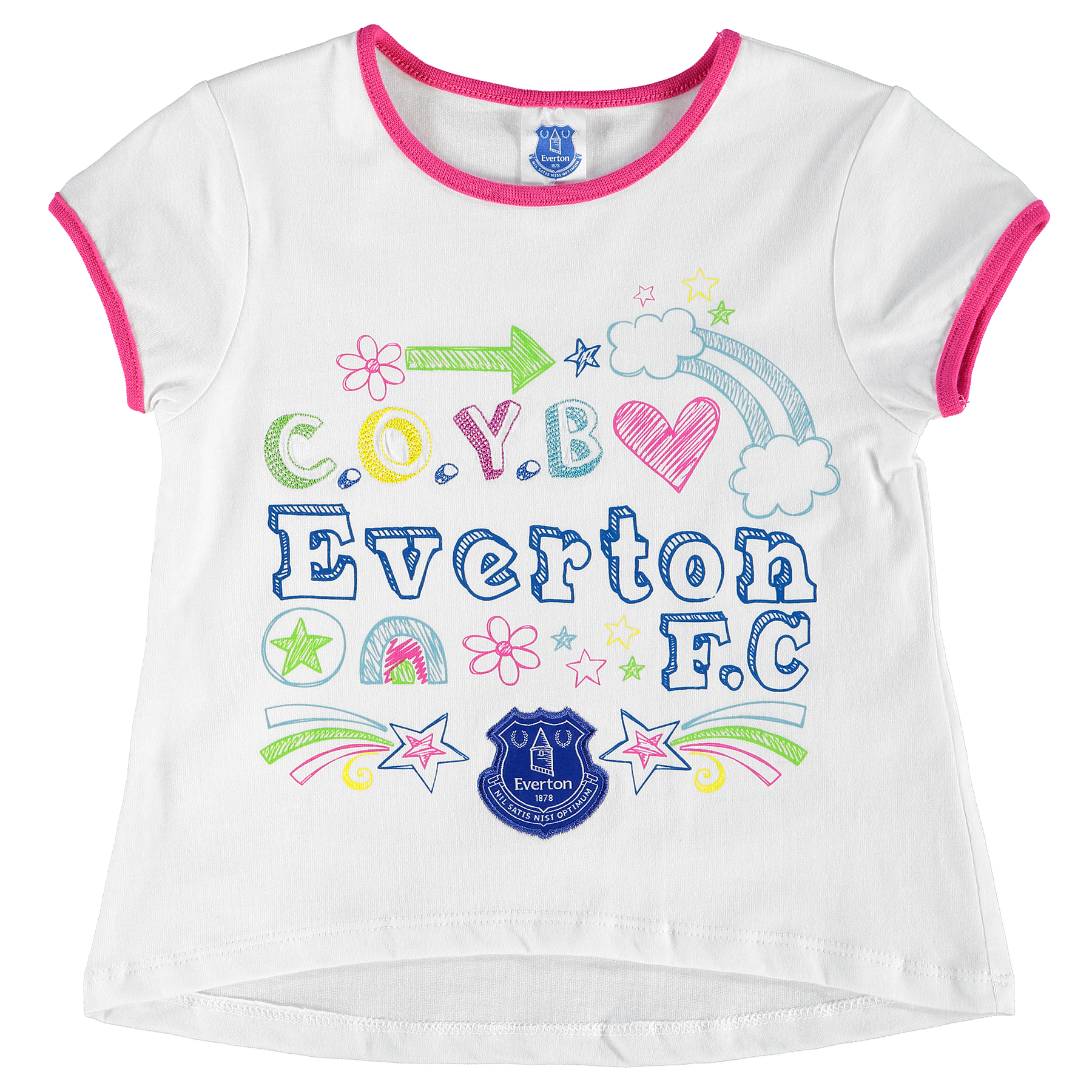 Everton Graphic T-Shirt - White/Pink - Baby