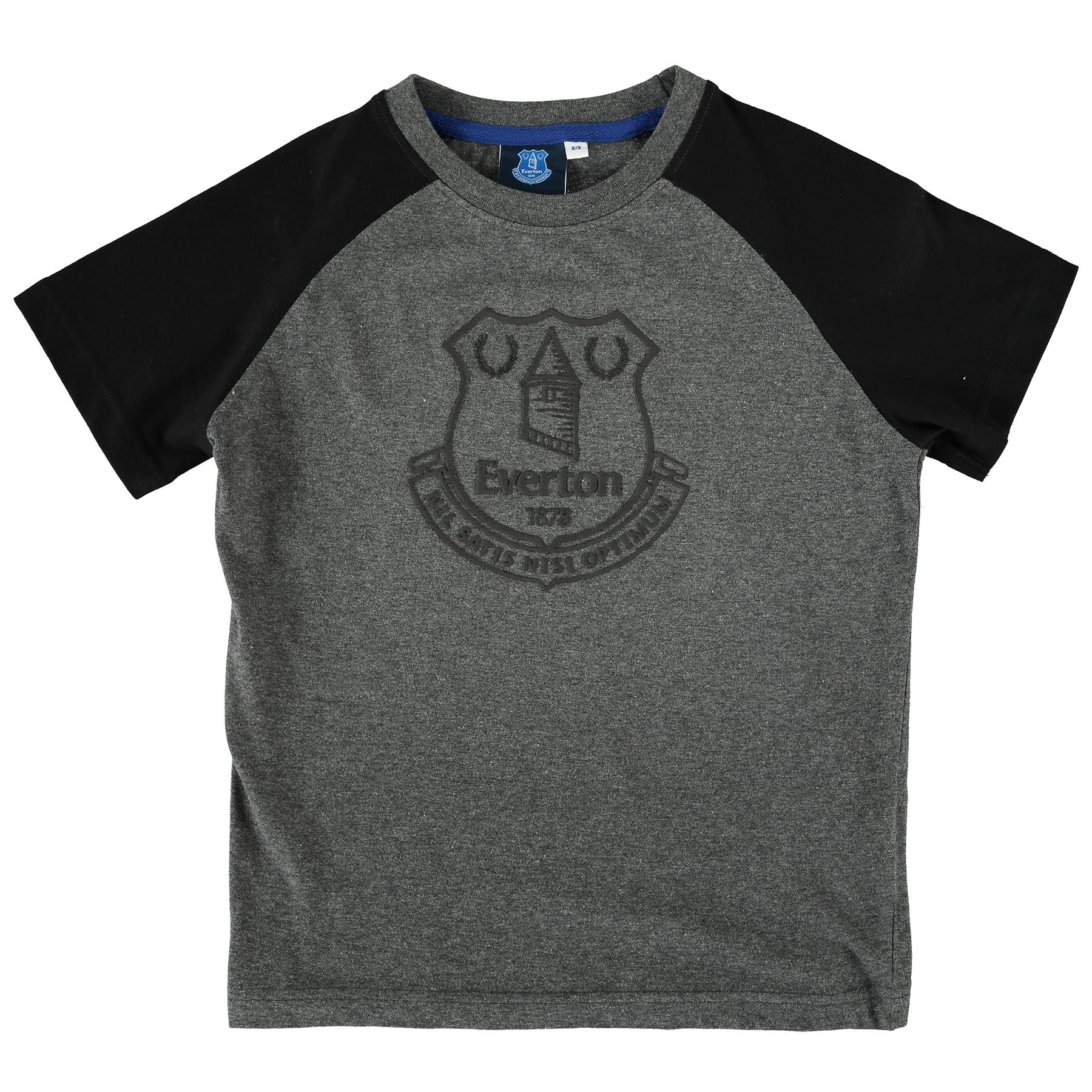 Everton Essentials Raglan T-Shirt - Grey Marl/Black - Junior