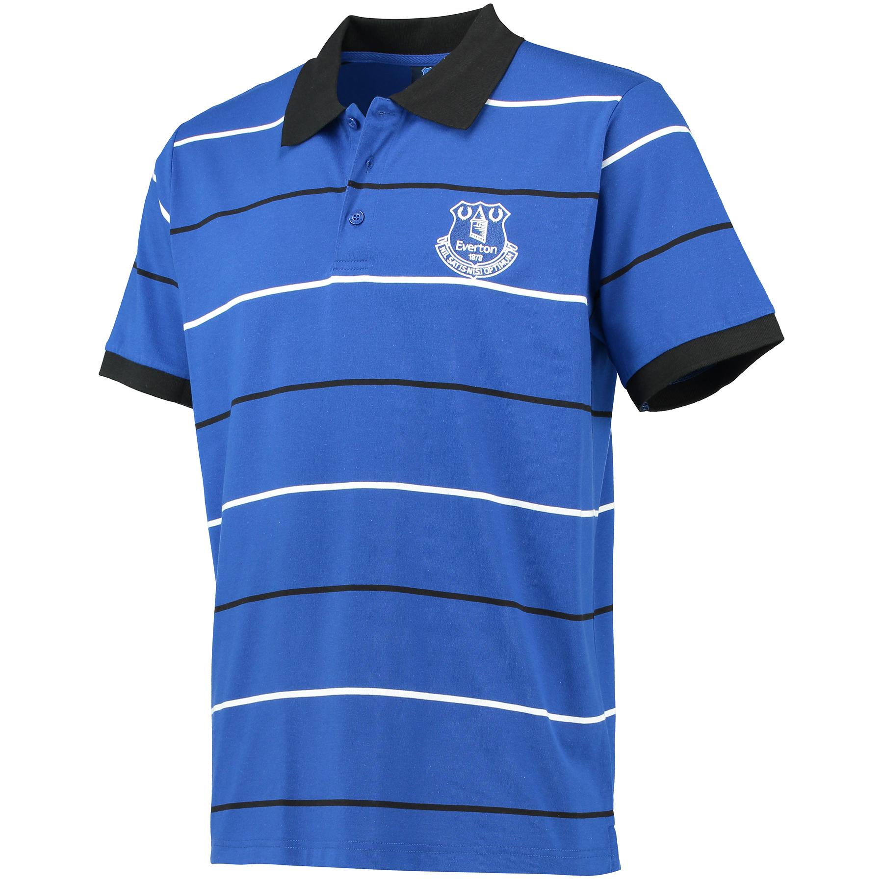 Everton Essentials Stripe Polo Shirt - Royal