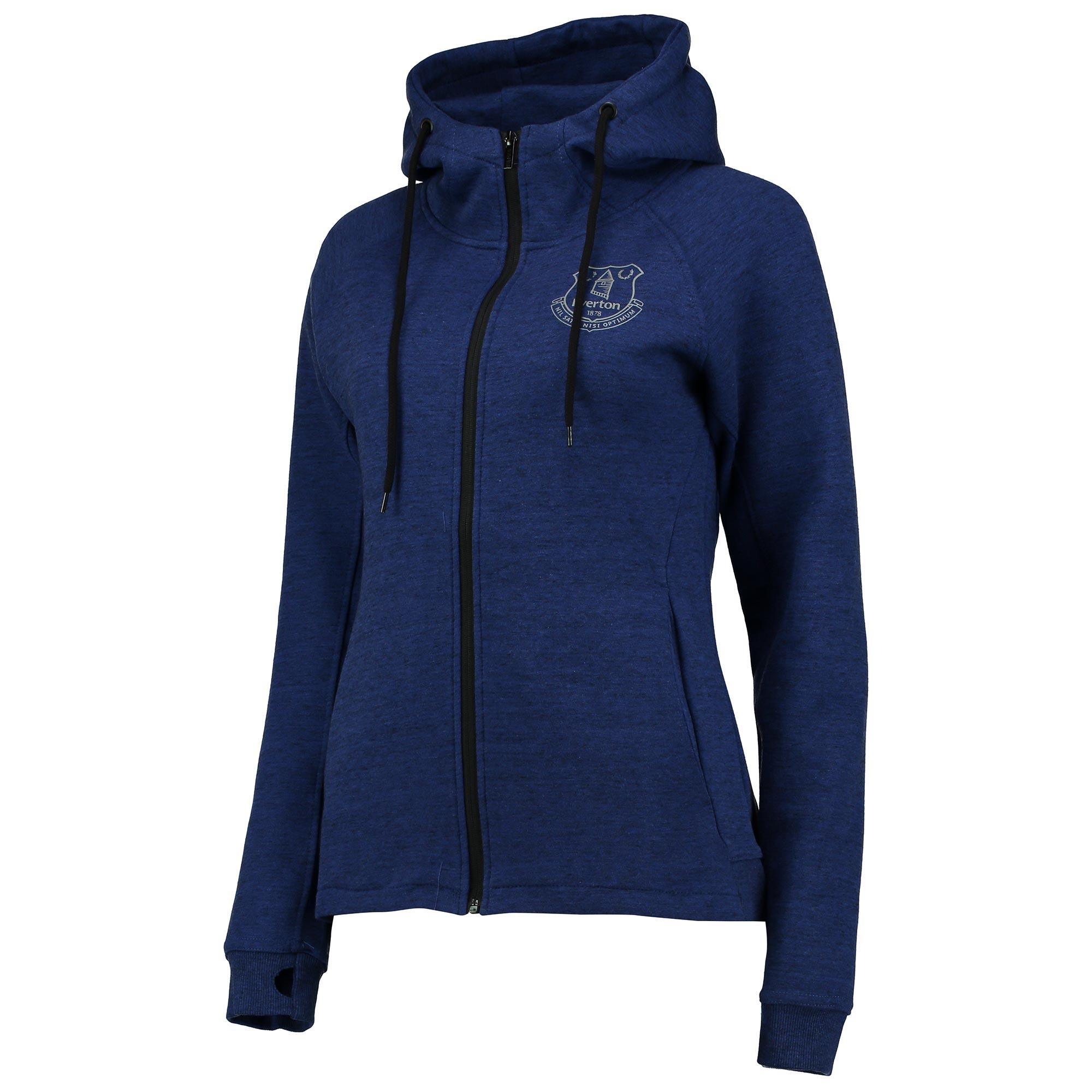 Everton Sport Full Zip Hoodie - Blue/Black Marl - Womens