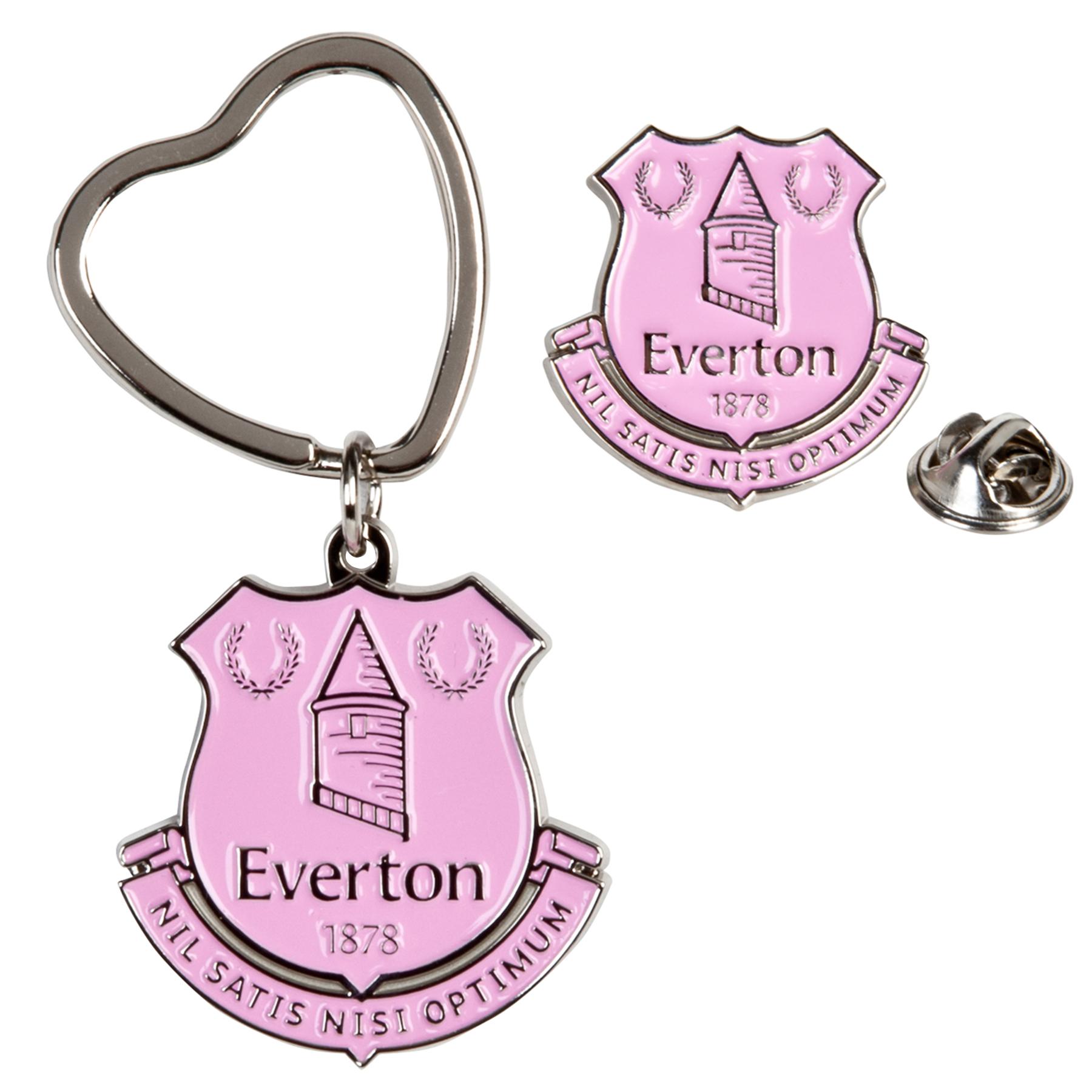 Everton Badge and Keyring Set - Pink
