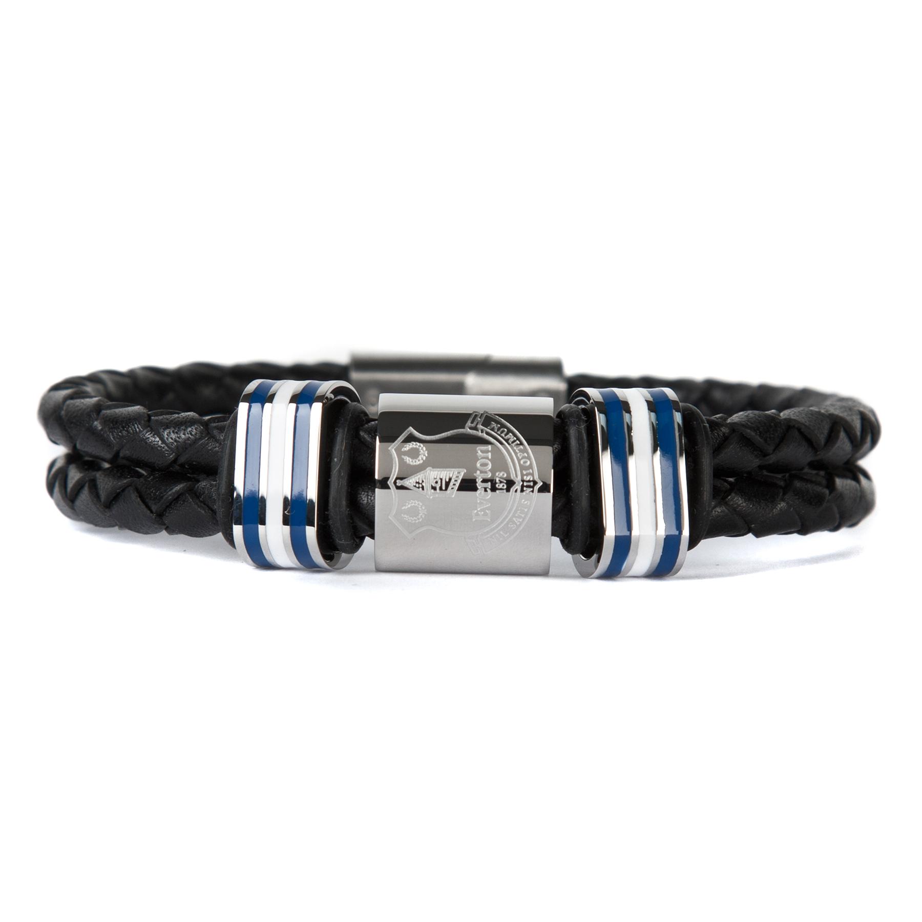 Everton Double Plaited Leather Crest Bracelet