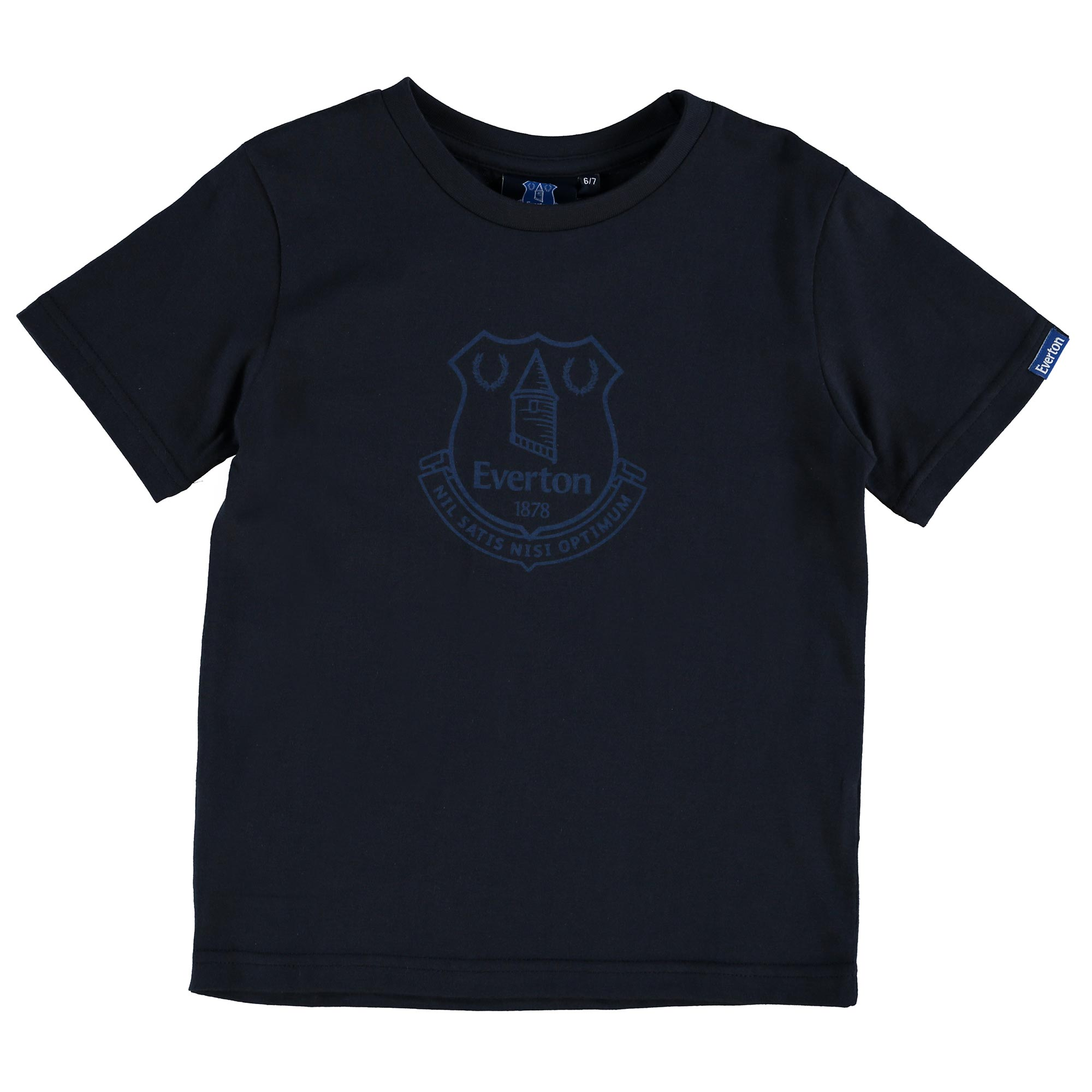 Everton Printed Crest T-Shirt - Navy - Junior