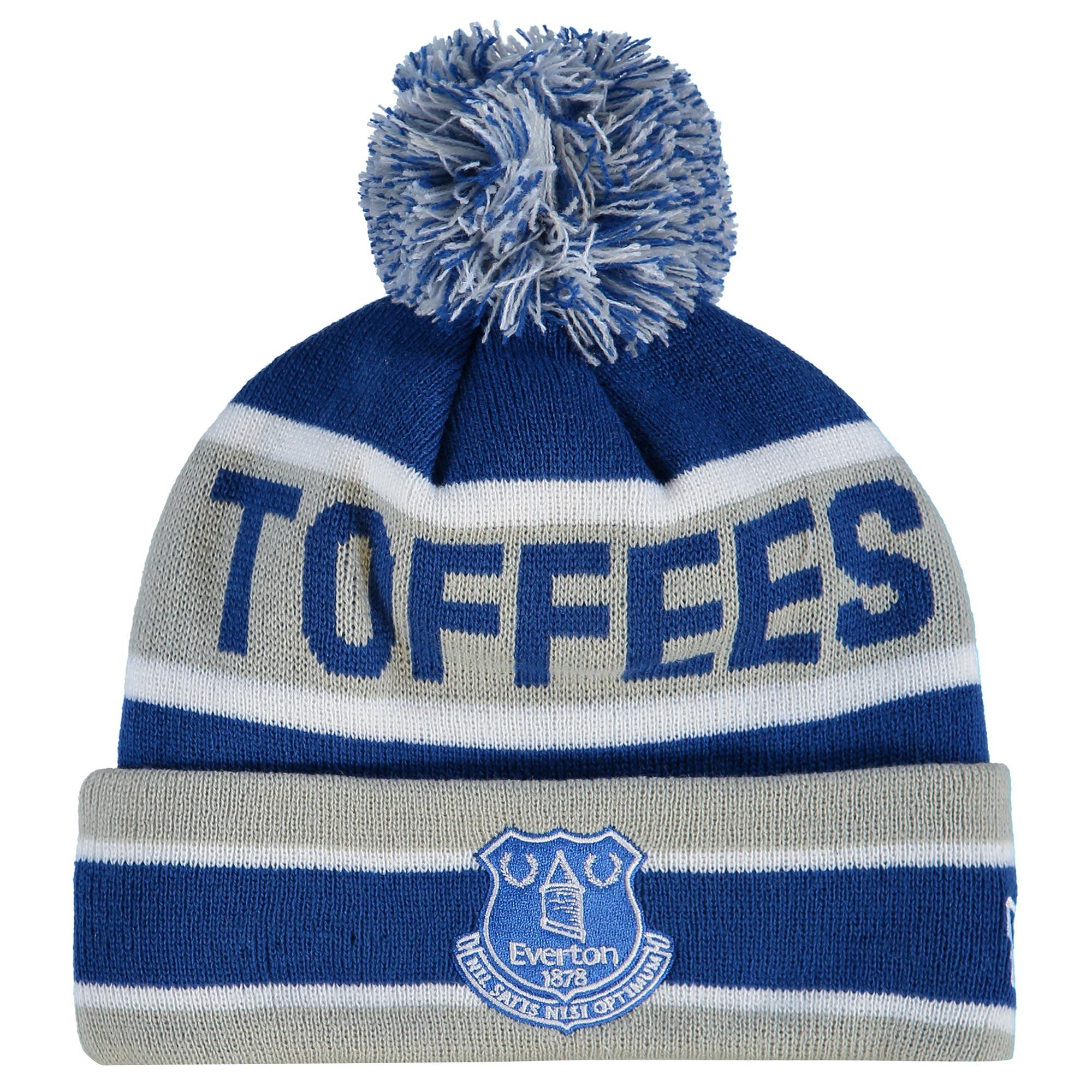Everton New Era Cuff Bobble Knit - Blue/Grey - Junior