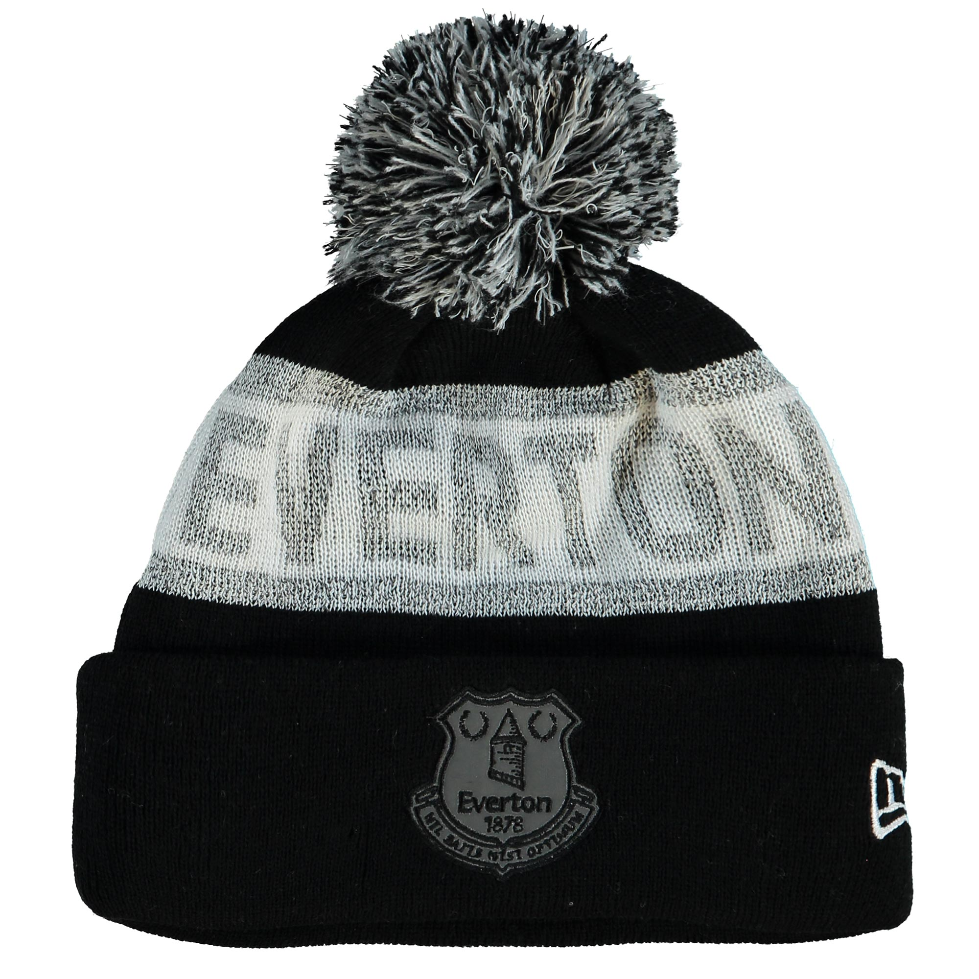 Everton New Era Reflective Cuff Bobble Beanie - Black - Junior