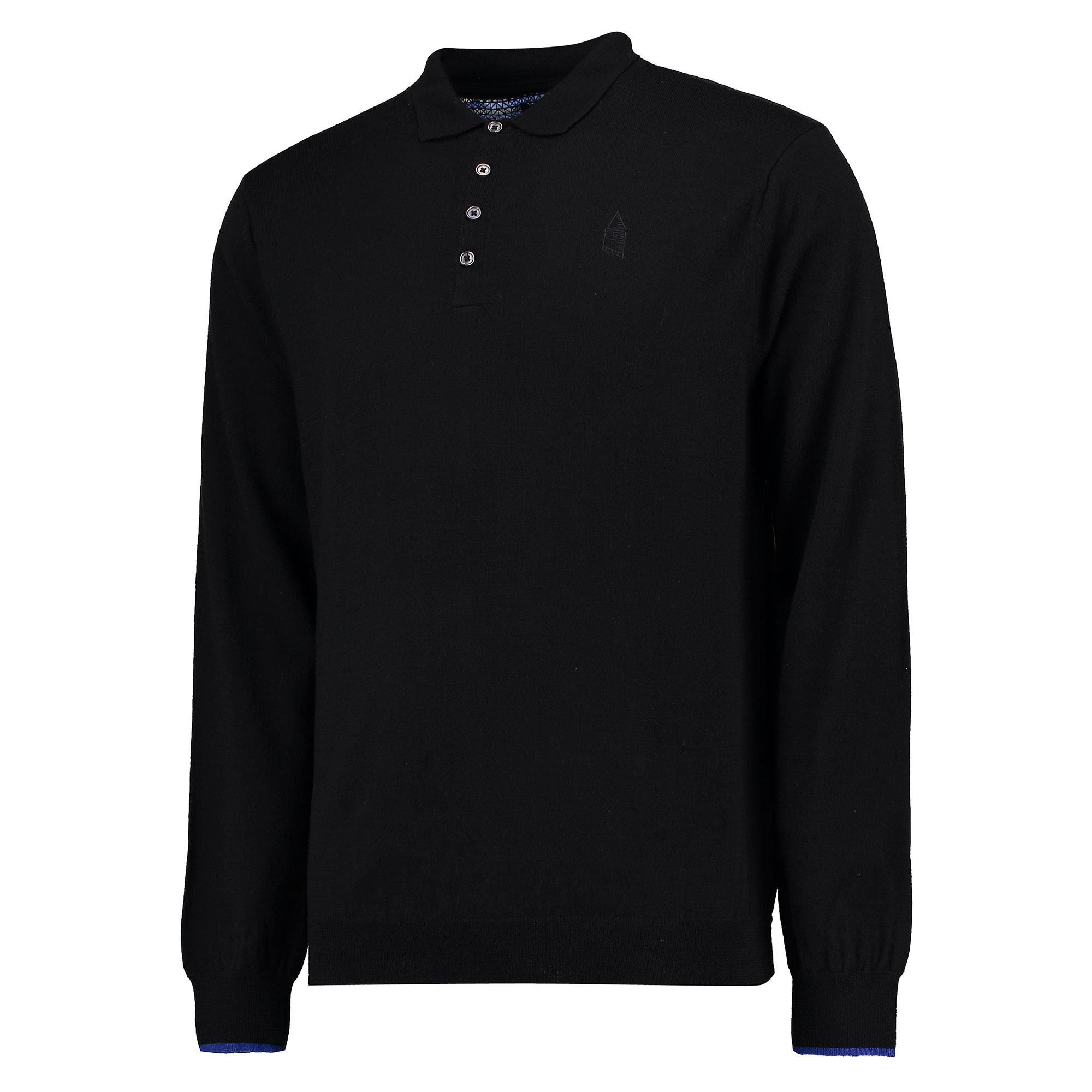 Everton 1878 Knitted Long Sleeve Polo - Black