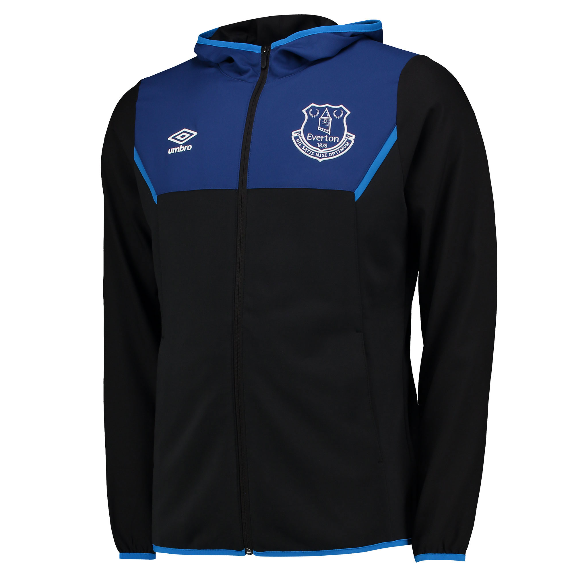 Everton Training Hooded Jacket - Junior - Black/Sodalite Blue