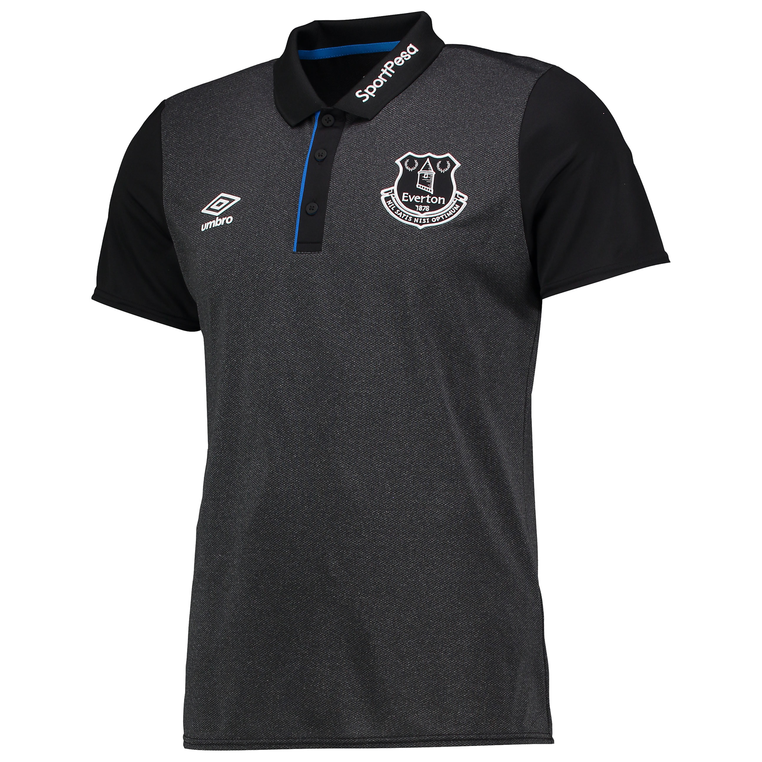 Everton Training Poly Polo - Black/Electric Blue