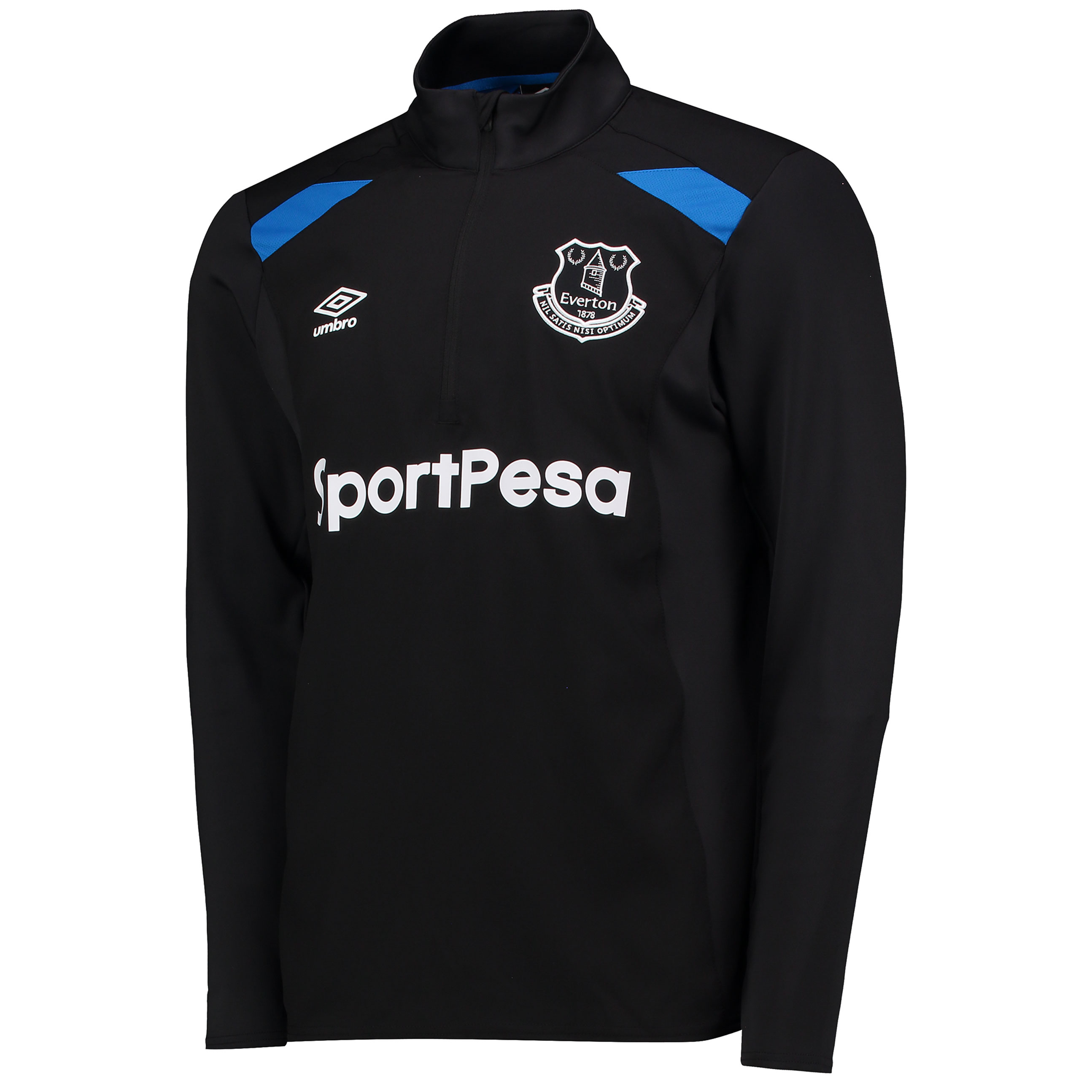 Everton Training Half Zip Top - Black/Electric Blue