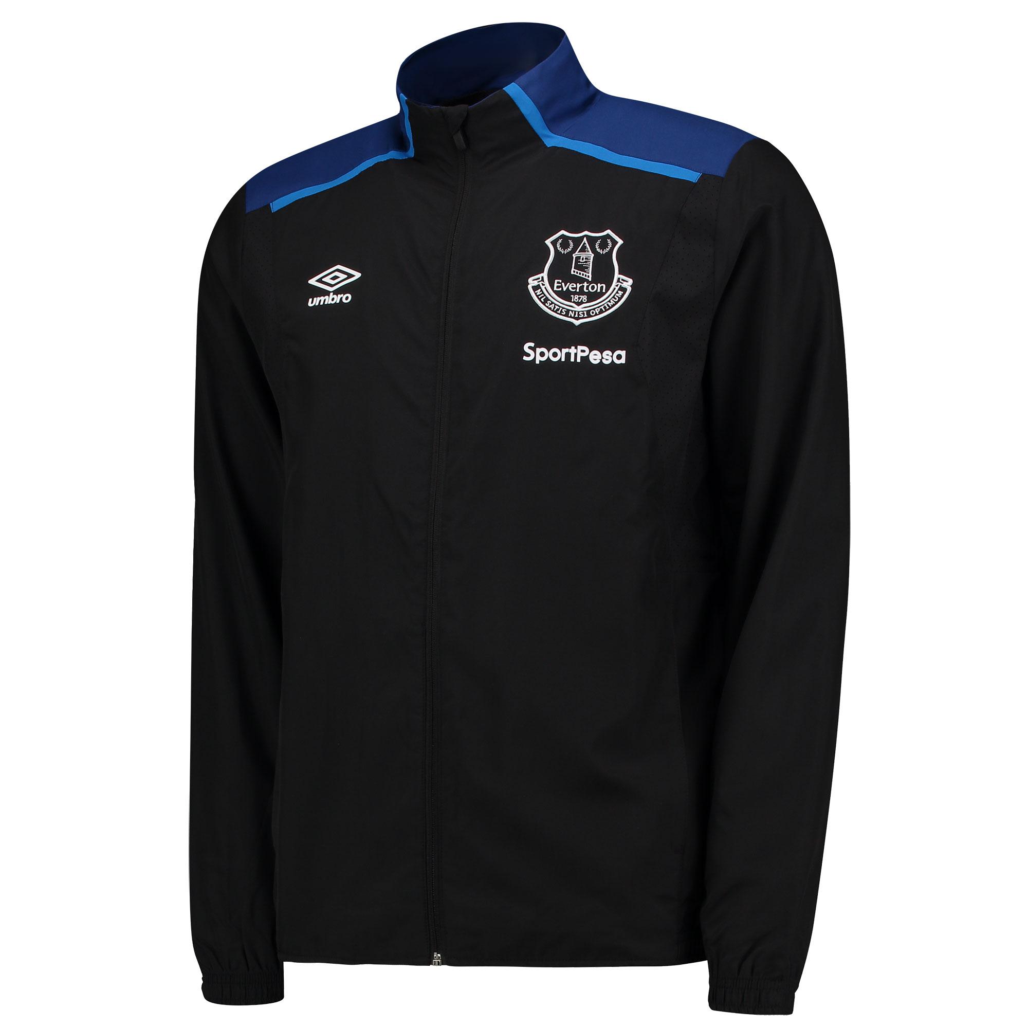 Everton Training Woven Jacket - Black/Sodalite Blue