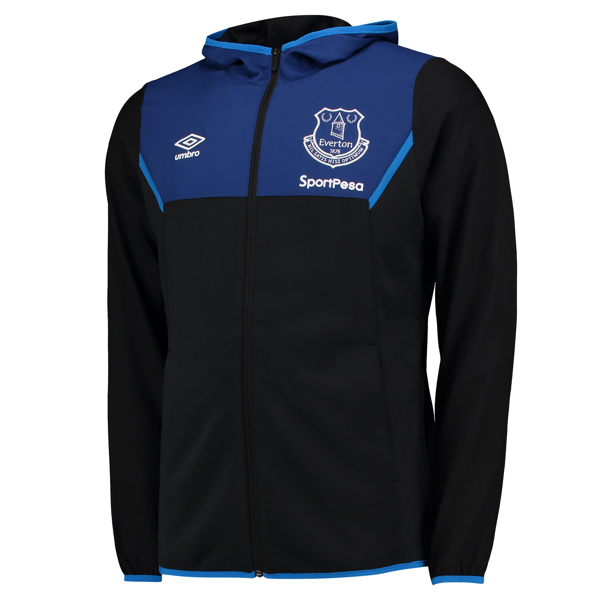 Everton Training Hooded Jacket - Black/Sodalite Blue